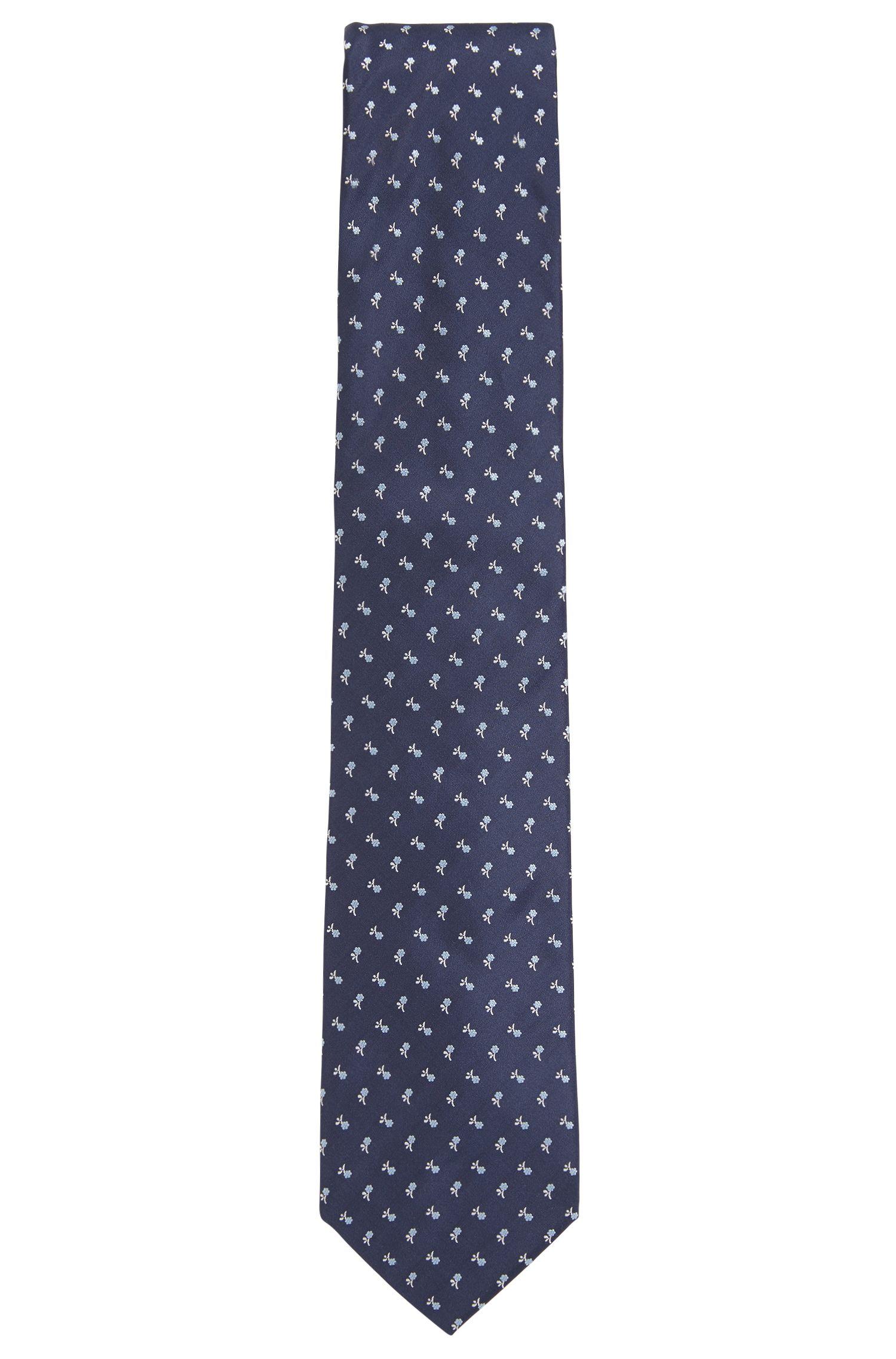 Italian-made tie in silk jacquard with floral motif, Dark Blue