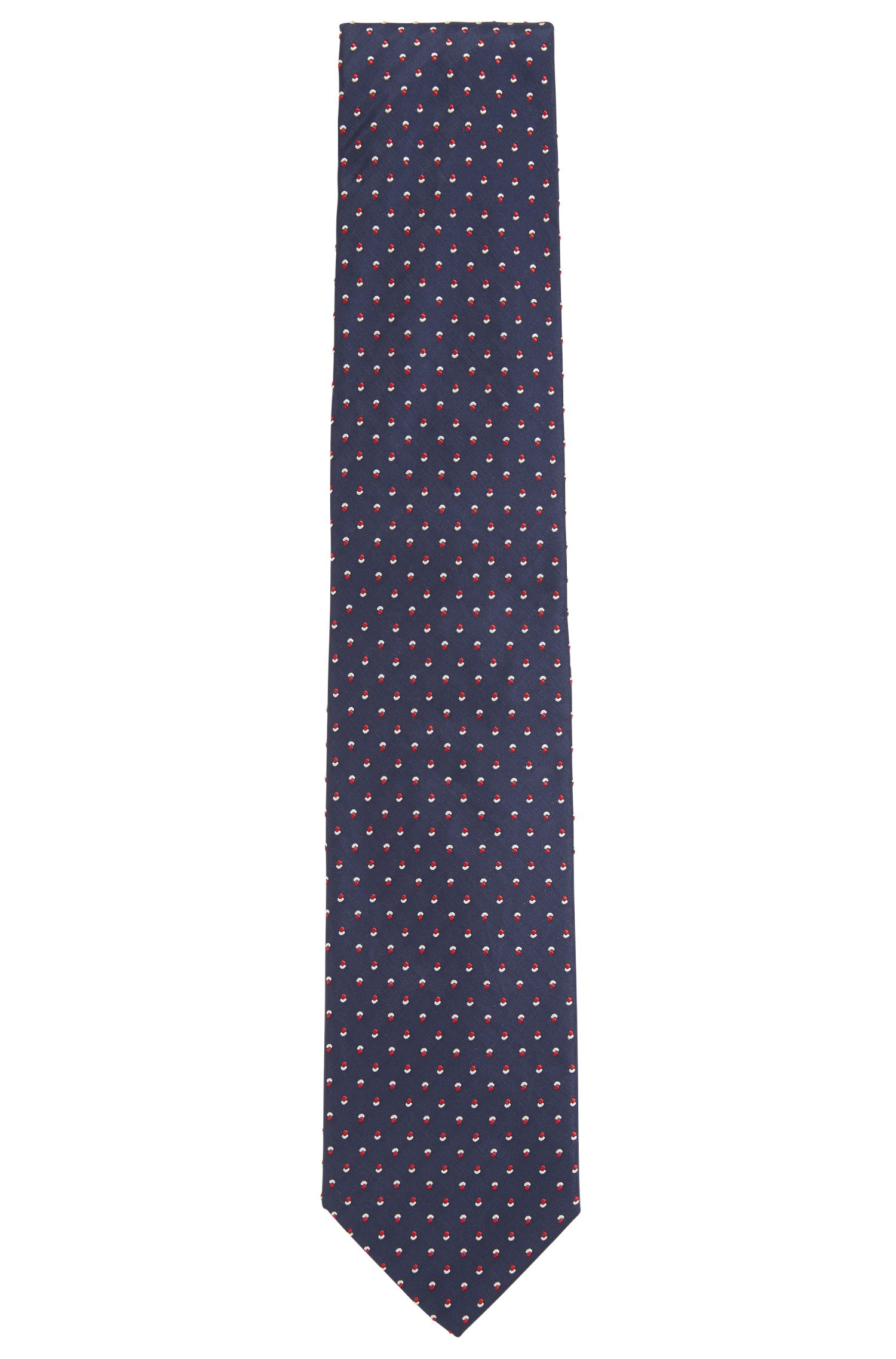 Italian-made tie in silk jacquard with floral motif, Dark Blue