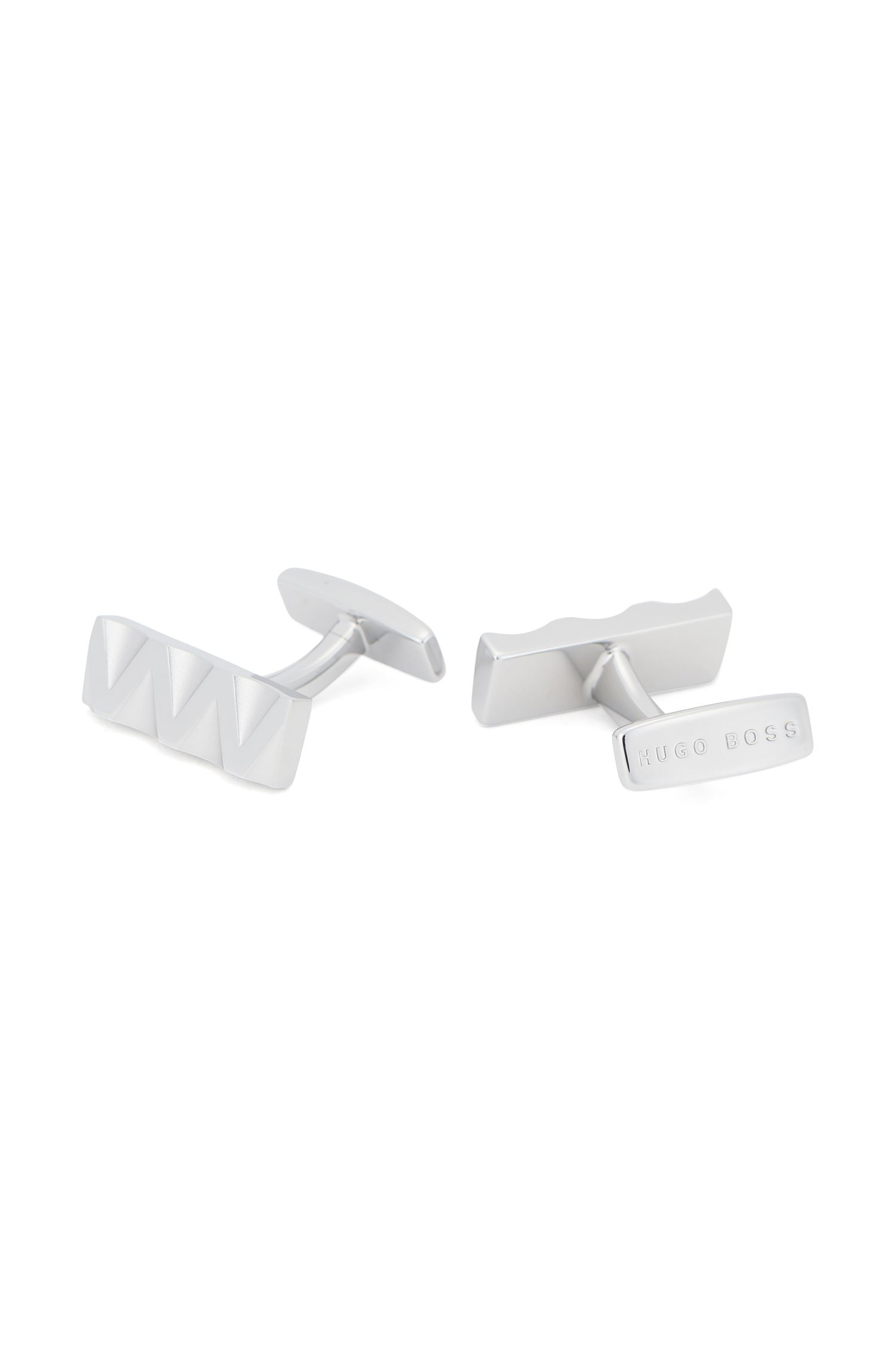 Brass cufflinks with three-dimensional zigzag design, Silver