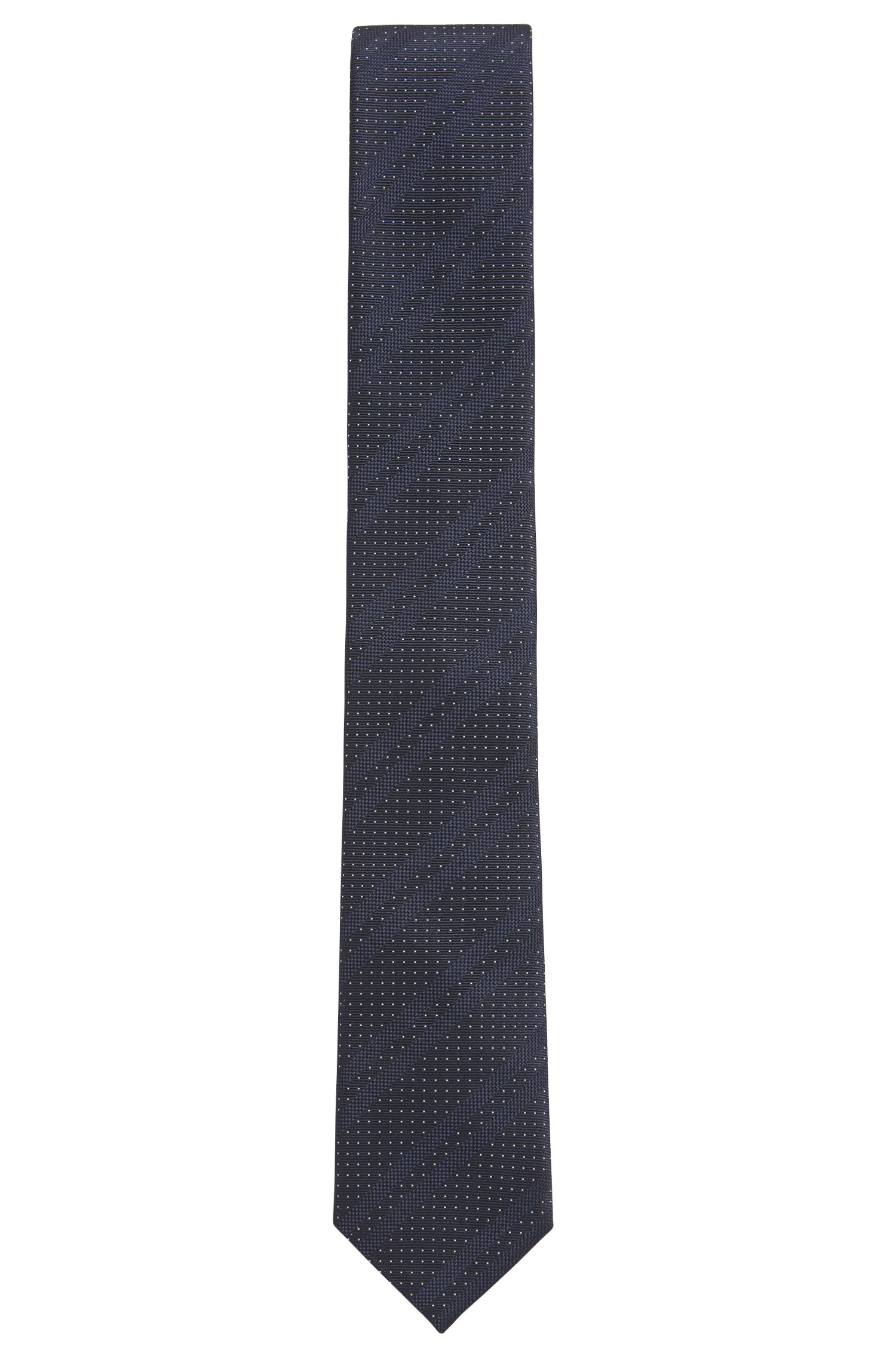 Italian-made silk-jacquard tie with diagonal stripes, Open Blue