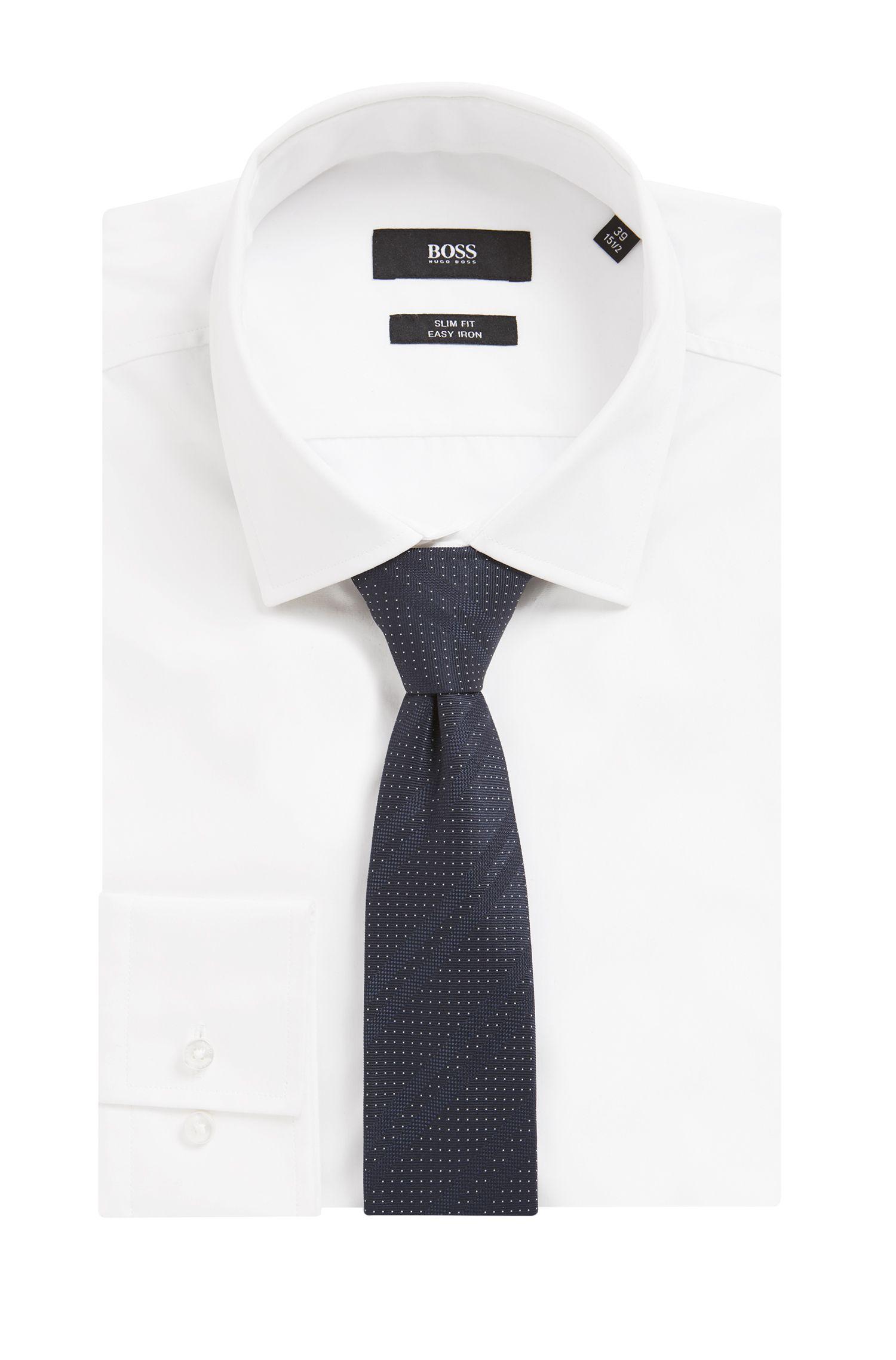 Italian-made silk-jacquard tie with diagonal stripes