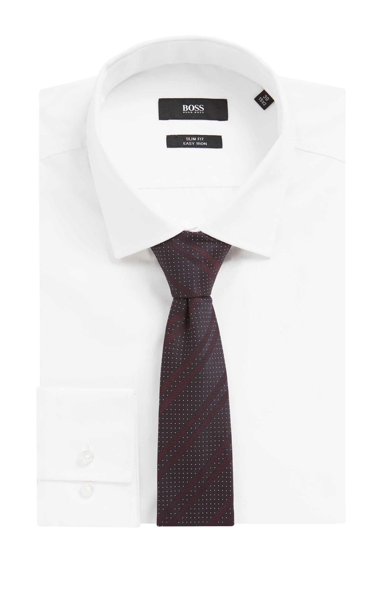 Italian-made silk-jacquard tie with diagonal stripes, Dark Purple