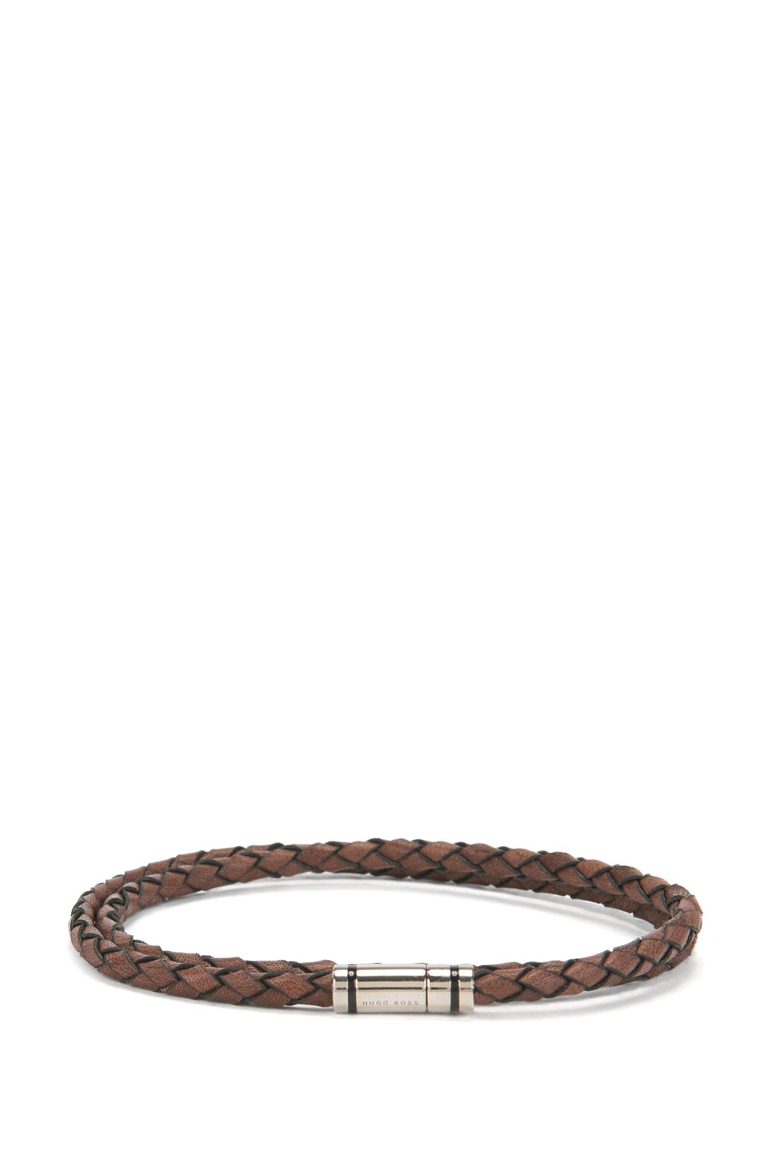 Braided leather bracelet with enamel-stripe snap closure