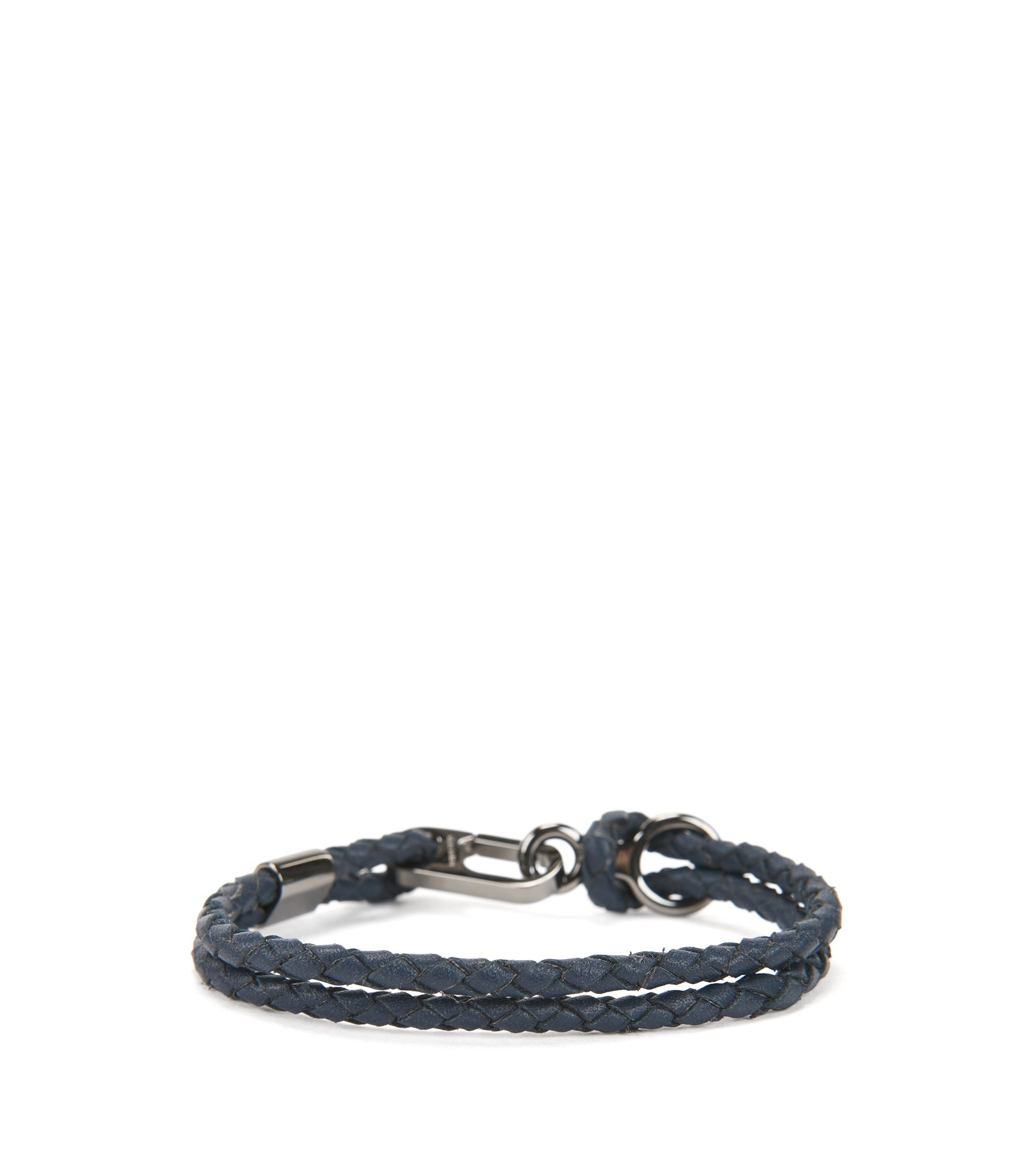 Double braided calf-leather bracelet with carabiner closure, Dark Blue