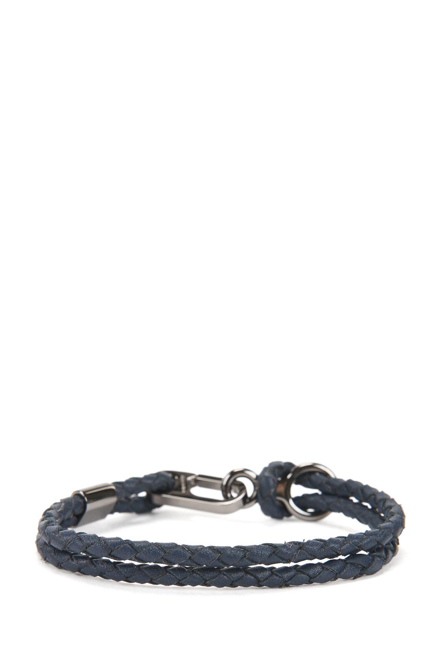 Double braided calf-leather bracelet with carabiner closure