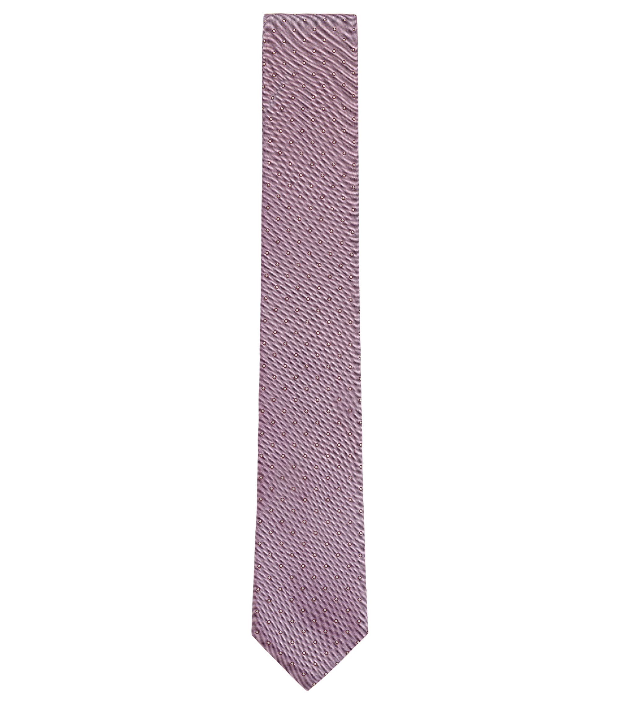 Italian-made patterned tie in silk jacquard, light pink