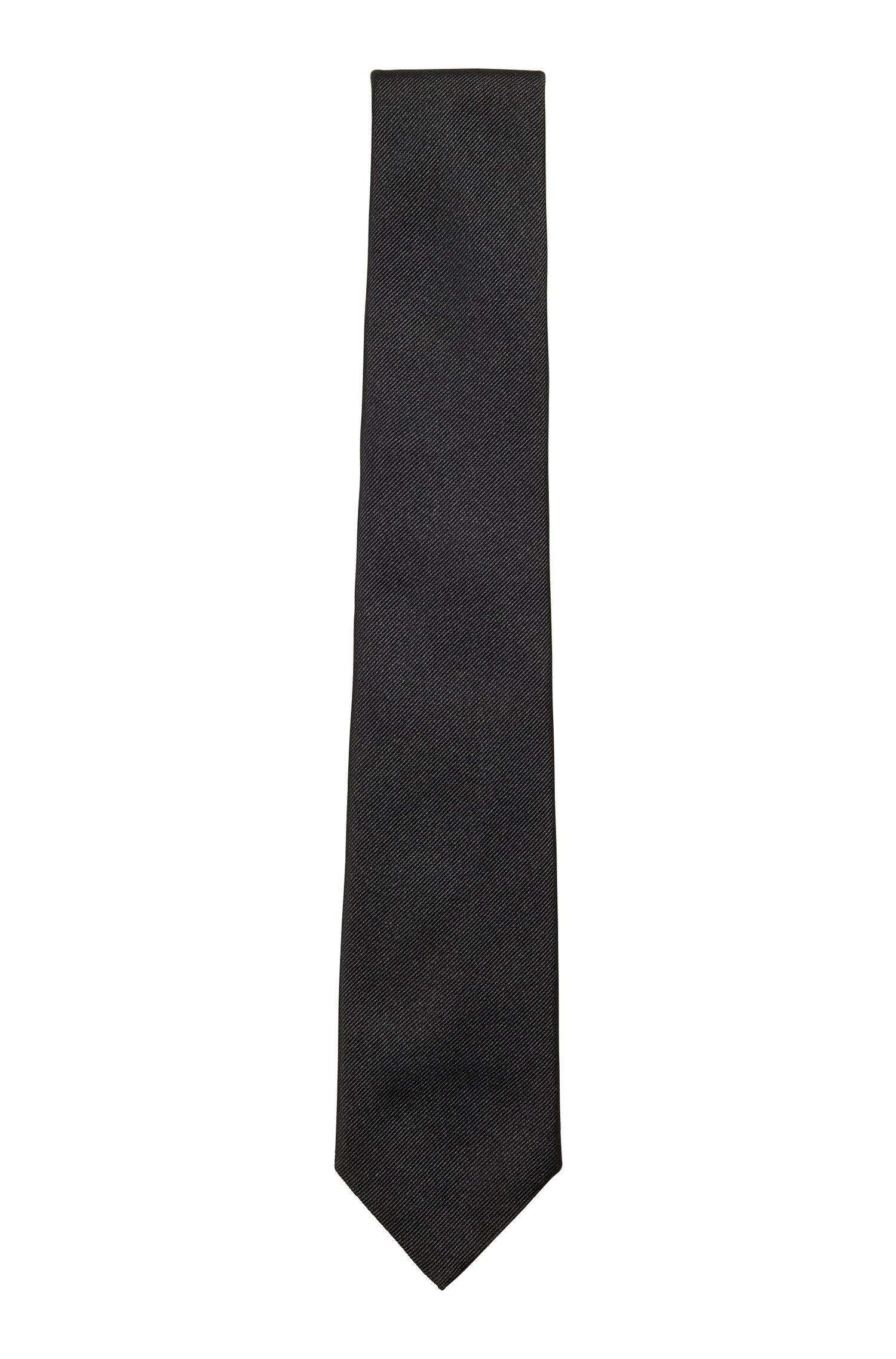 Italian-made tie in silk jacquard, Black