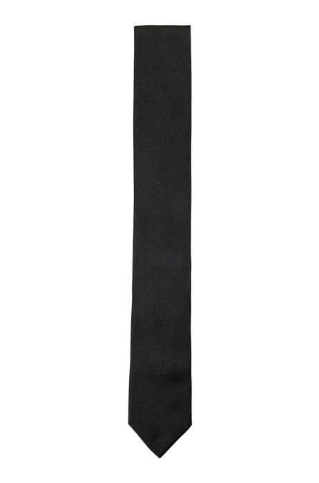 Jacquard tie in satin-touch silk, Black