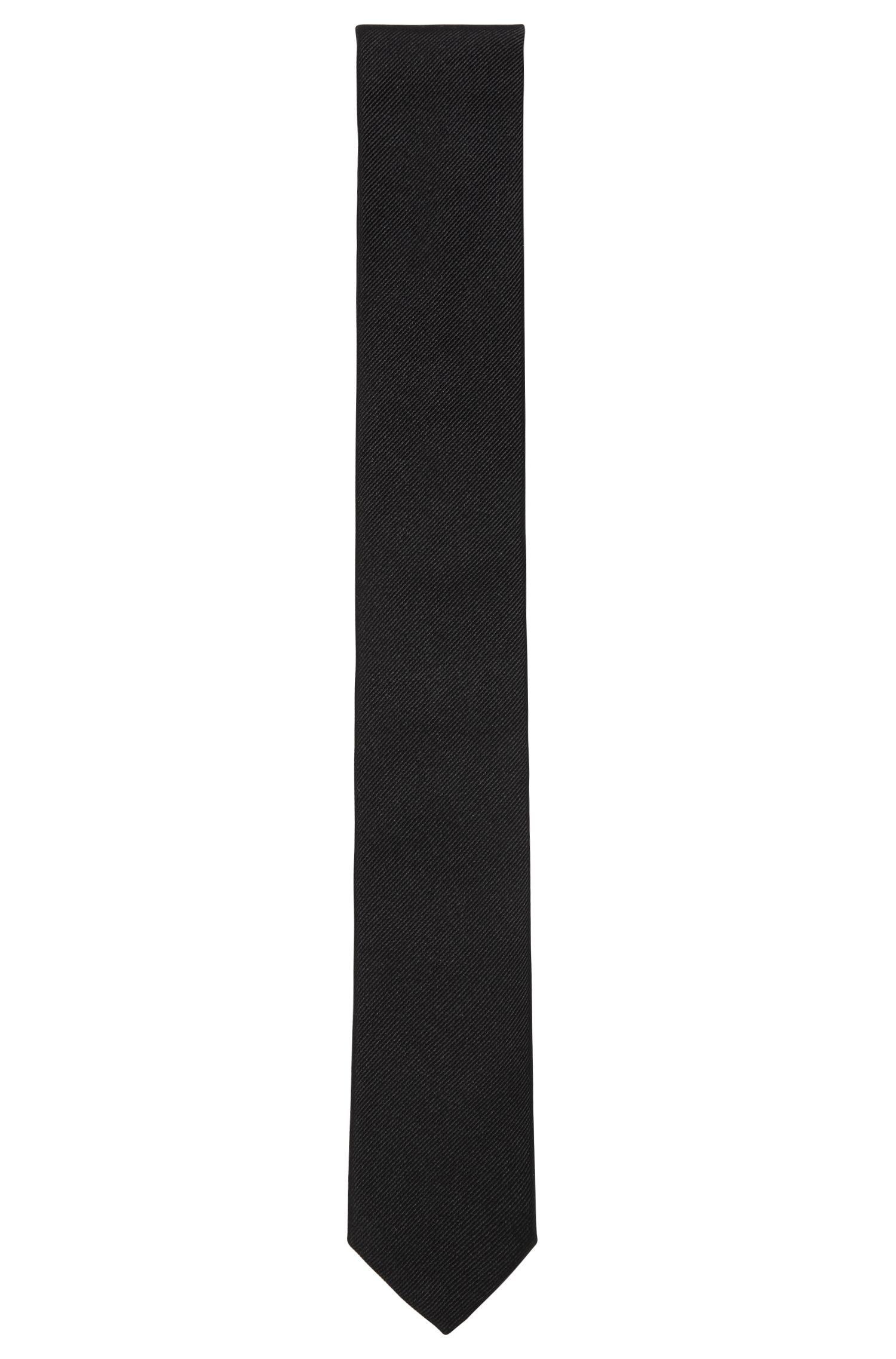 Jacquard tie in satin-touch silk, Black