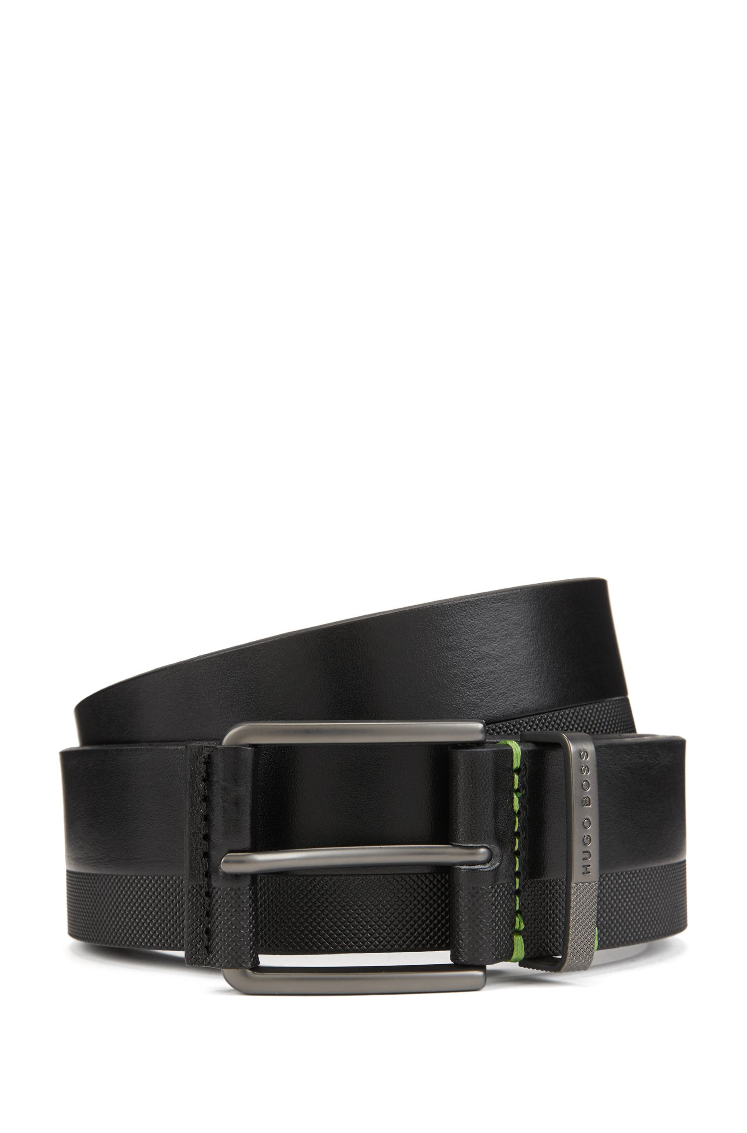Embossed-leather belt with matte gunmetal buckle, Black