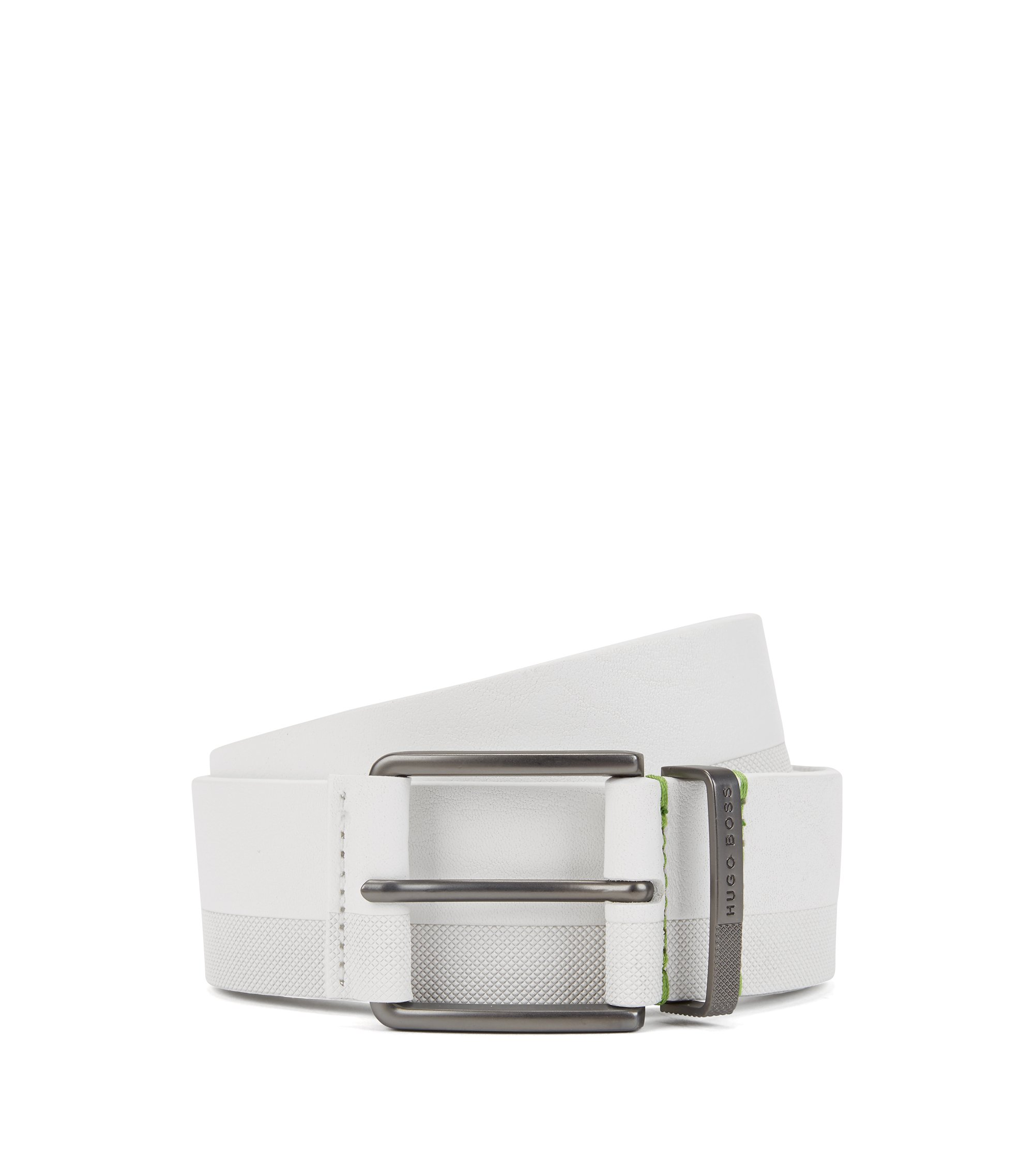 Embossed-leather belt with matte gunmetal buckle, White