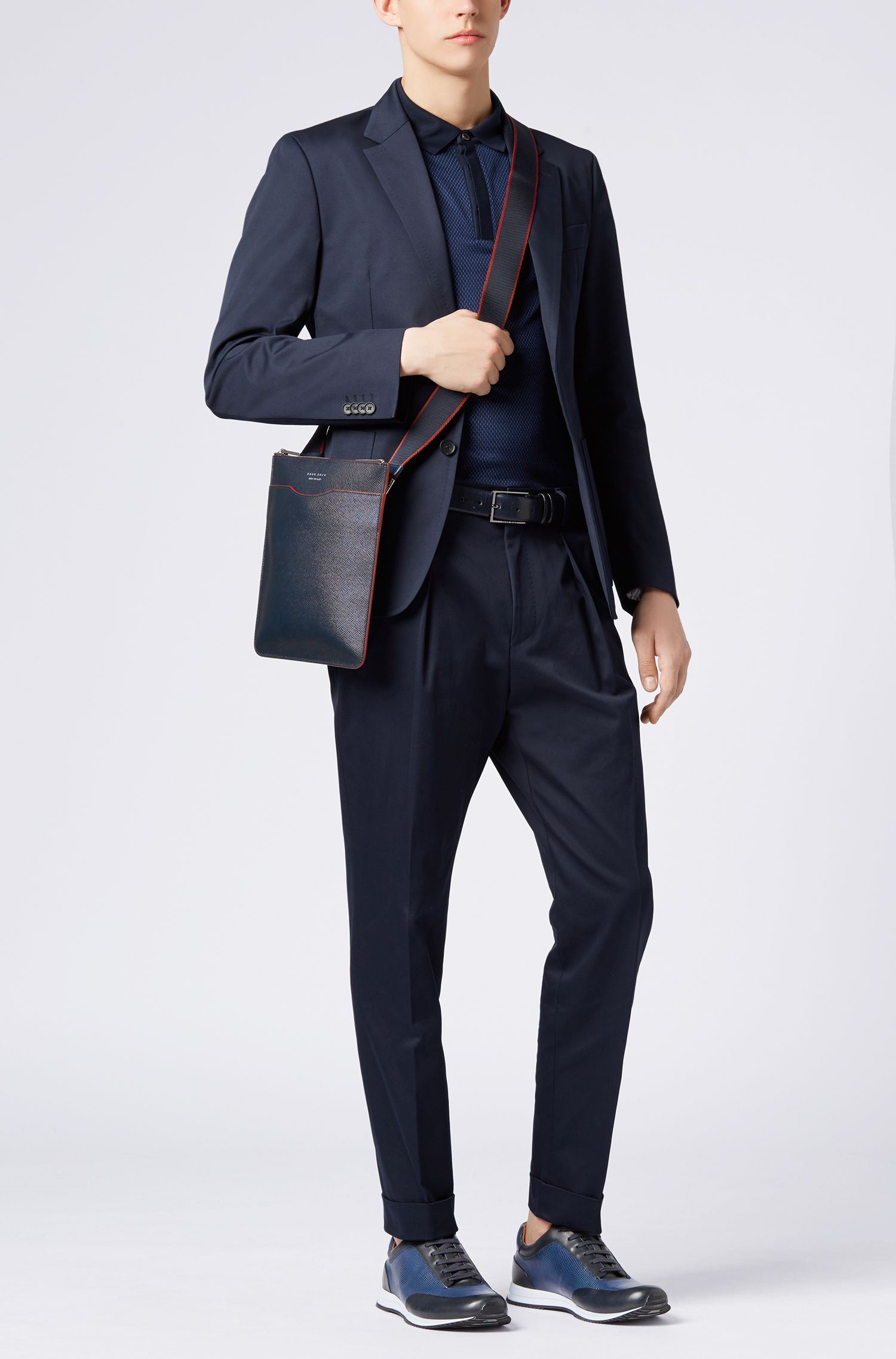 Signature Collection cross-body bag in Italian calf leather, Dark Blue
