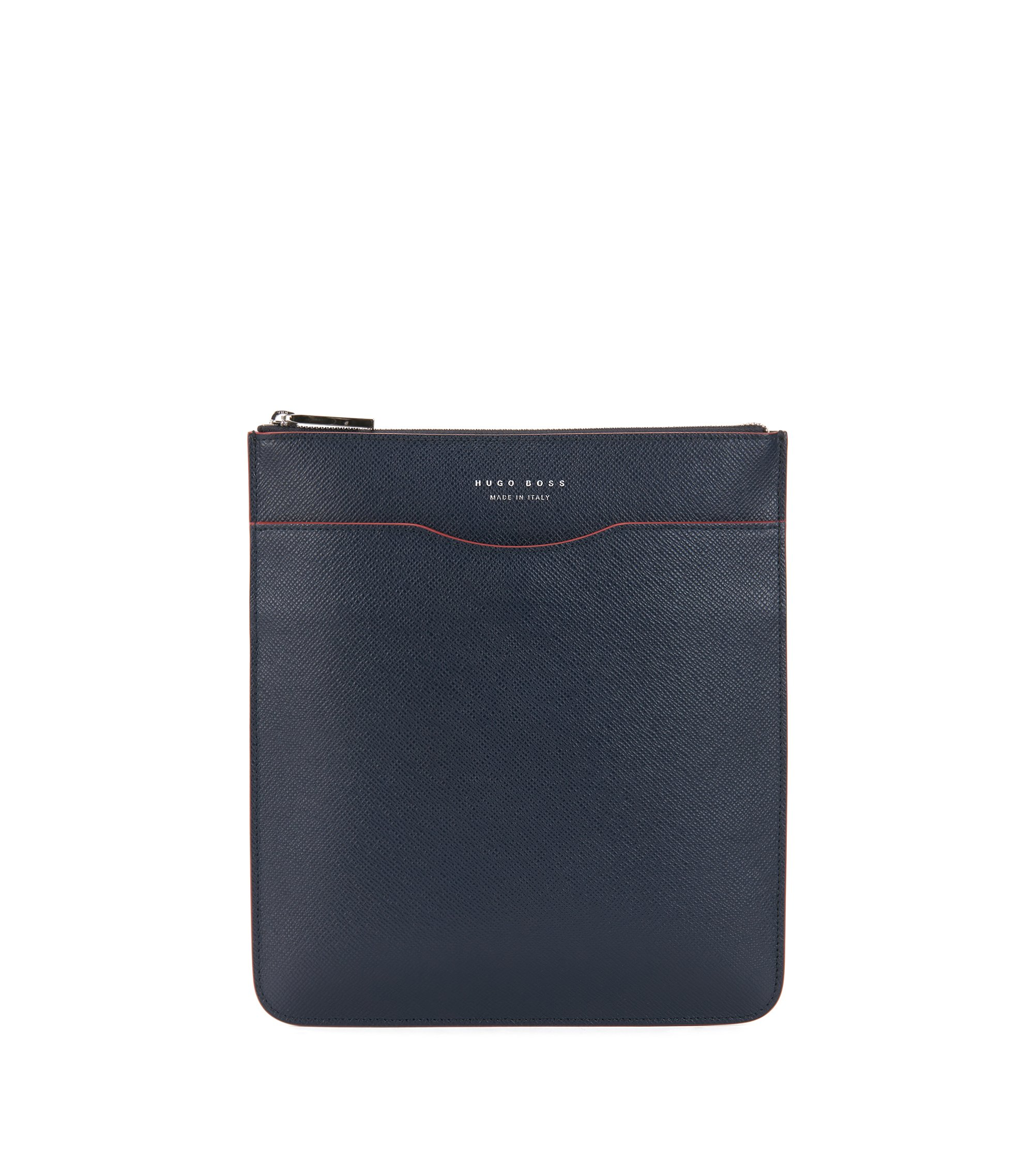 Signature Collection cross-body bag in Italian calf leather, Dark Blue