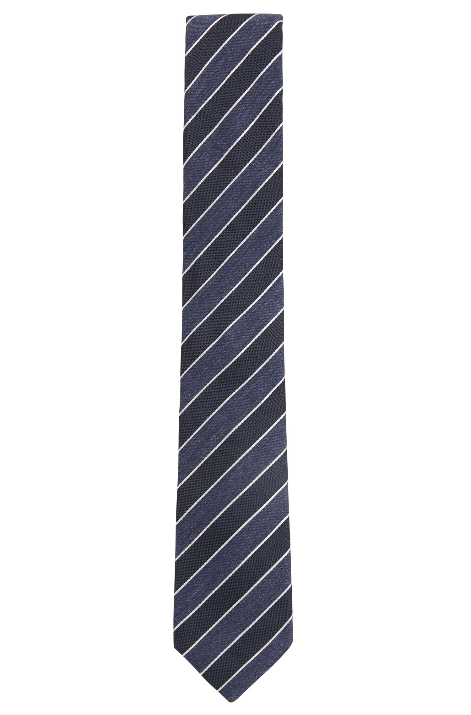 Italian-made tie in a silk blend with stripes, Open Blue