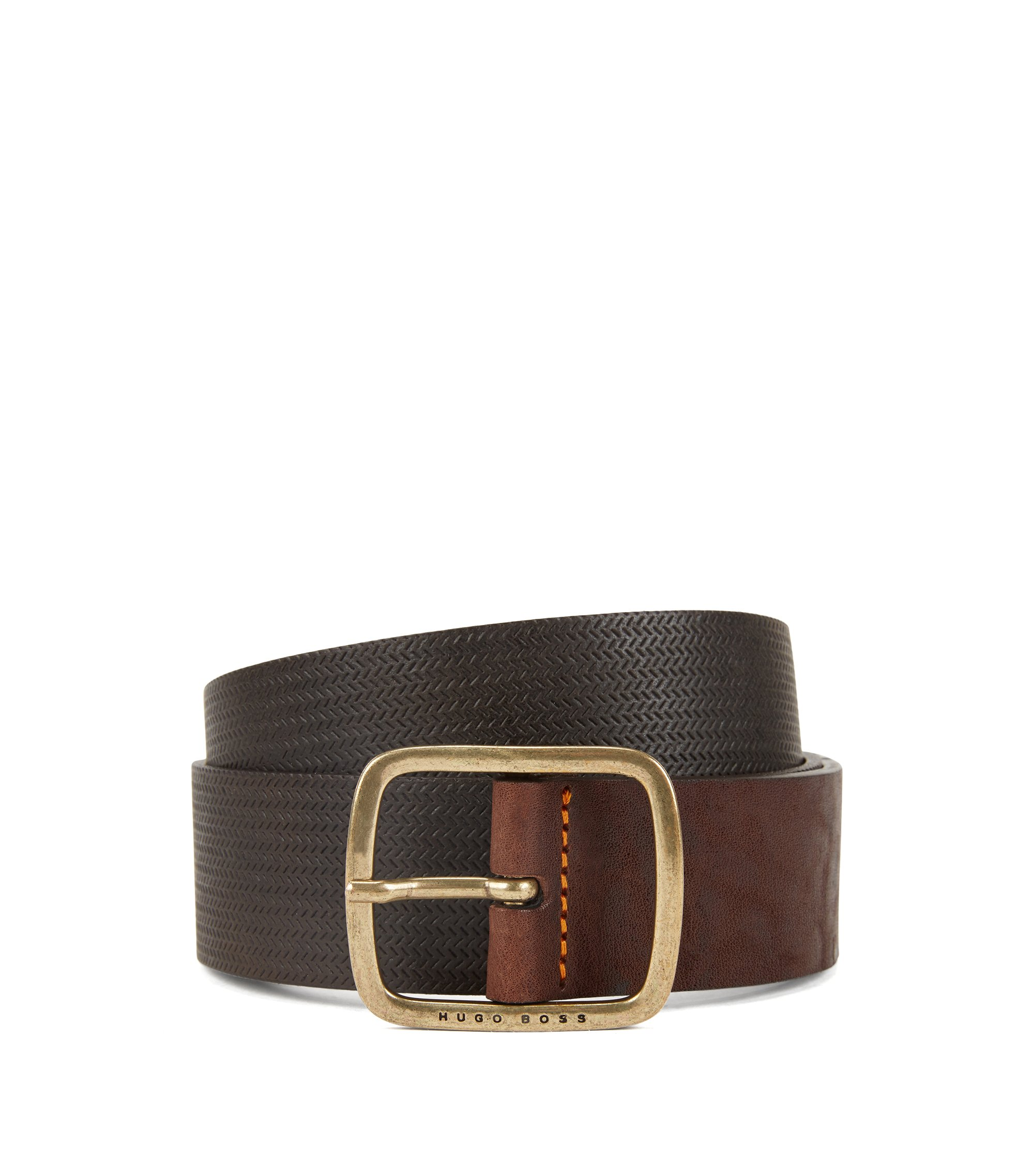 Vintage-look leather belt with antique-effect hardware, Dark Brown