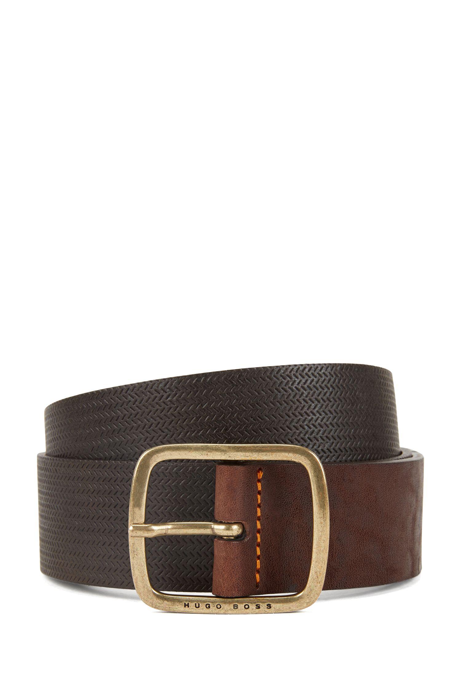 Vintage-look leather belt with antique-effect hardware, Dark Brown