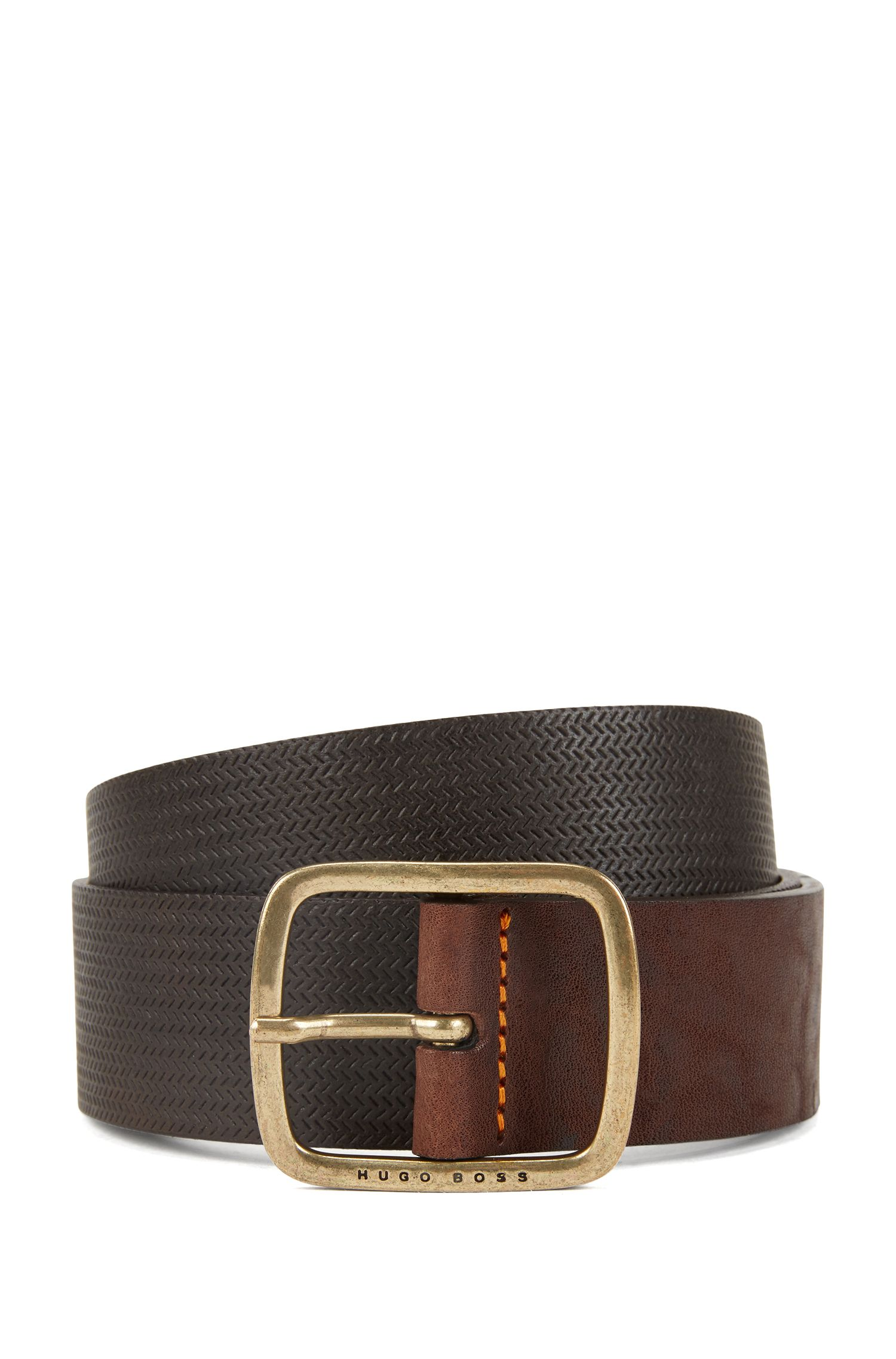 Vintage-look leather belt with antique-effect hardware