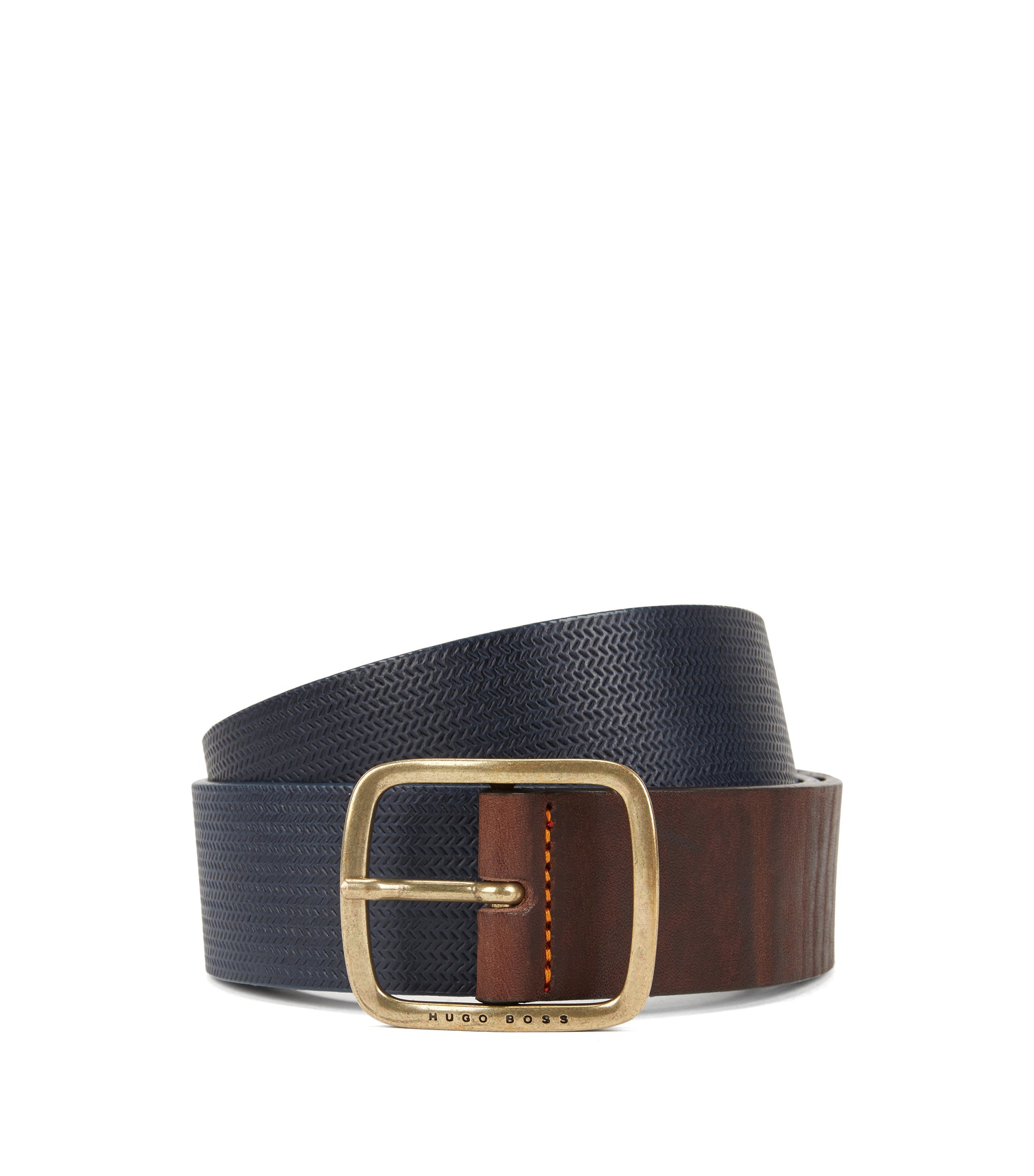 Vintage-look leather belt with antique-effect hardware, Dark Blue