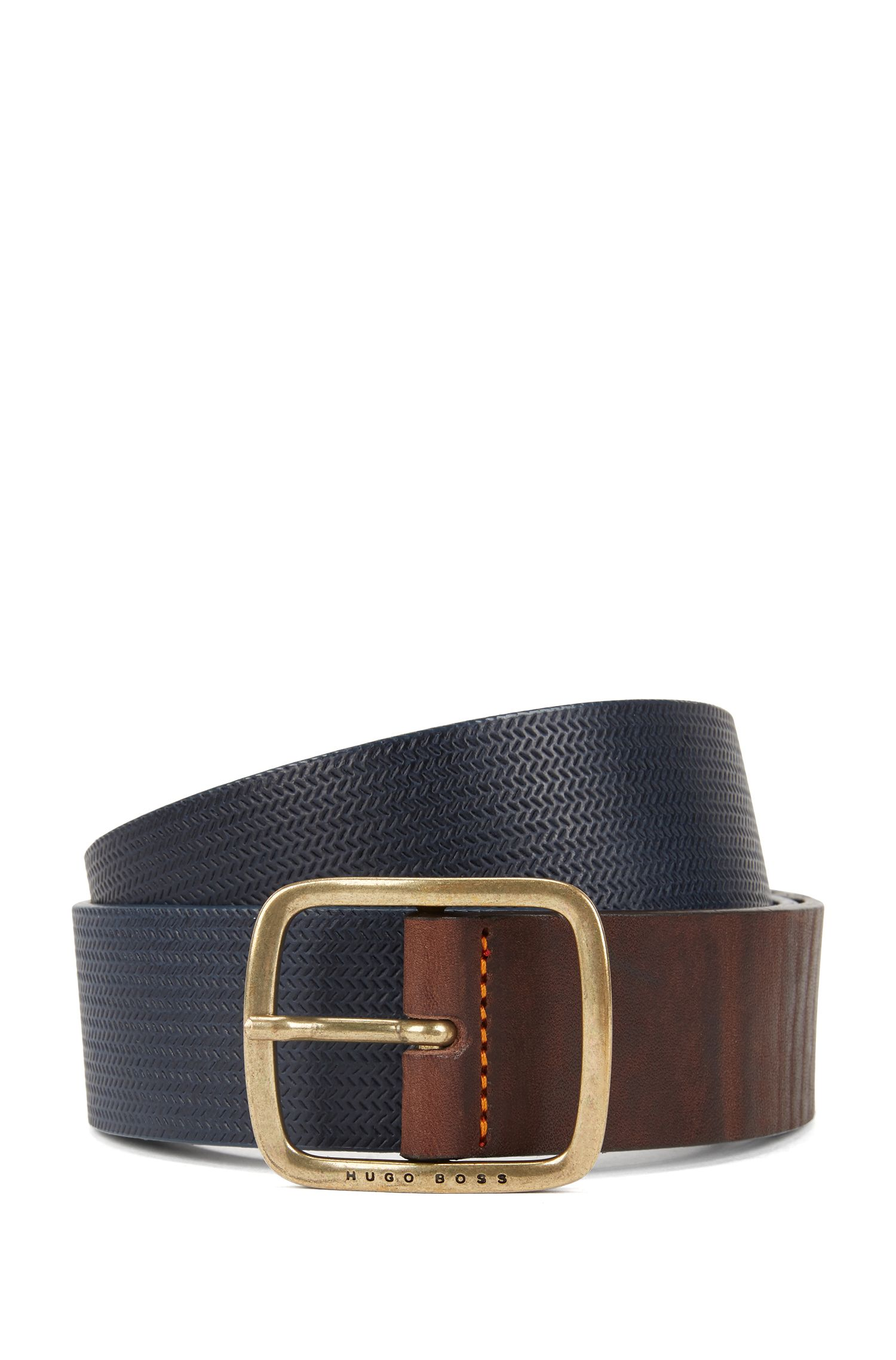 Vintage-look leather belt with antique-effect hardware, Dark Blue