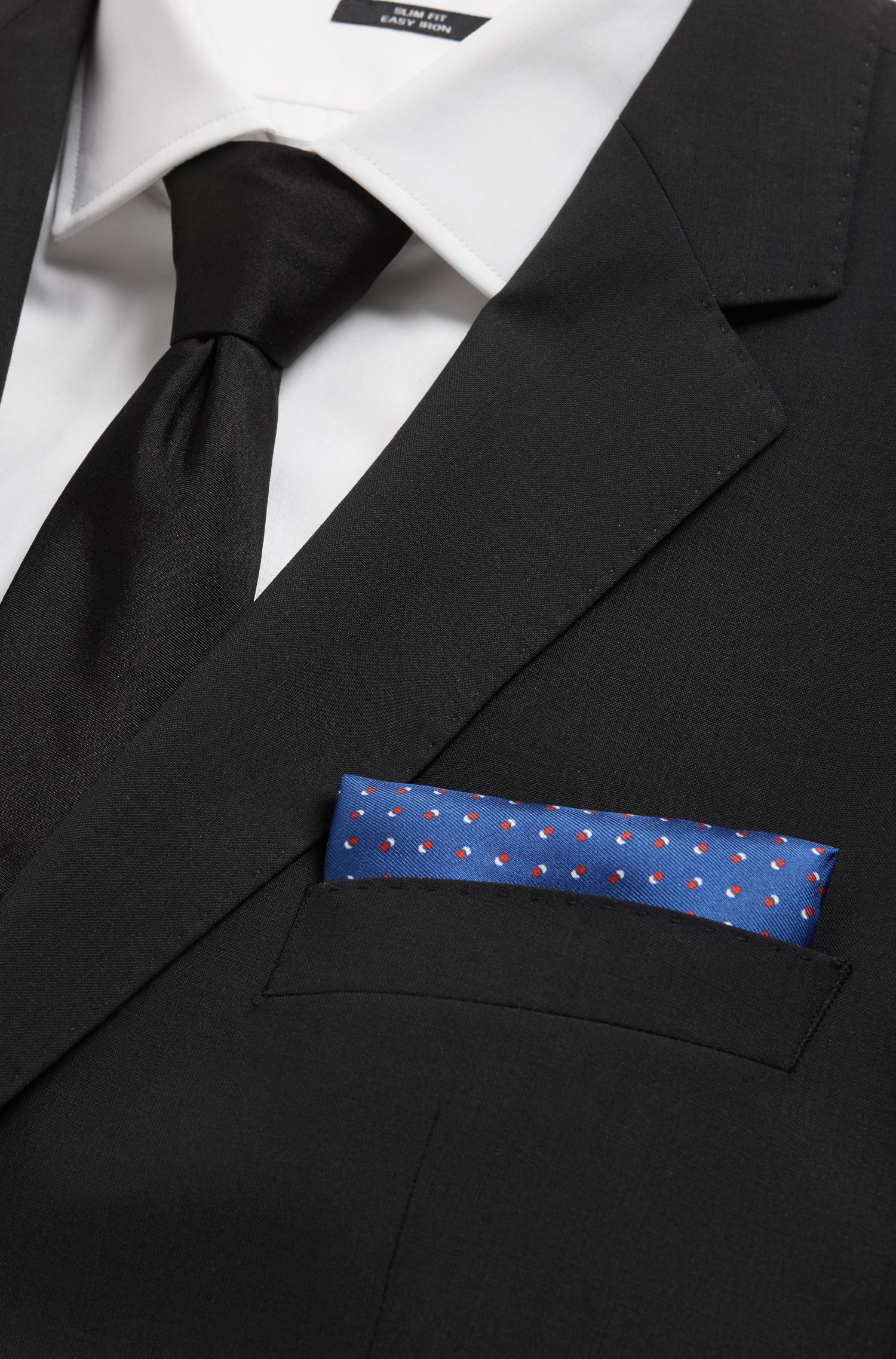 Italian-made silk pocket square with printed motif, Open Blue