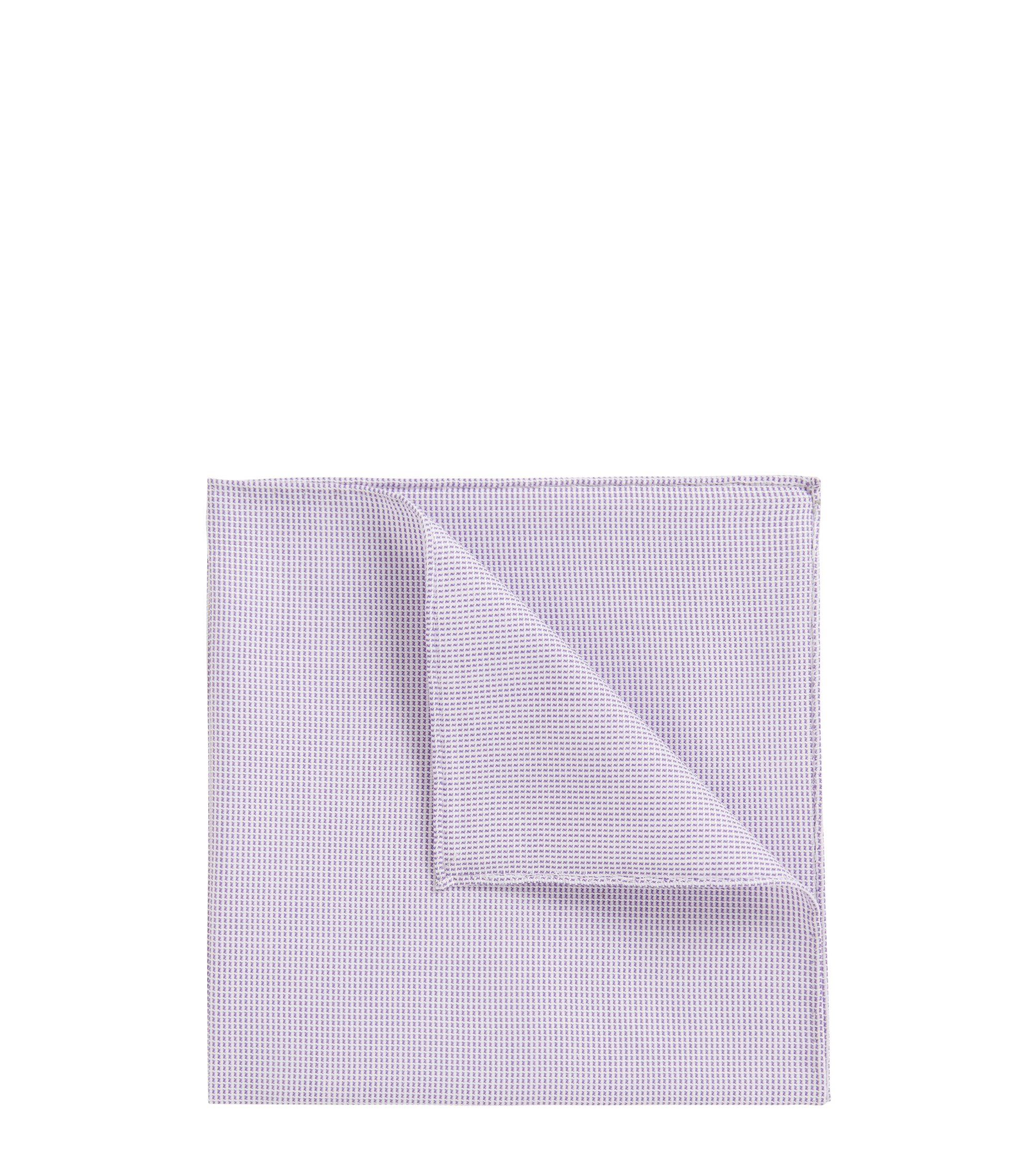 Rolled-hem pocket square in cotton-blend jacquard, Purple