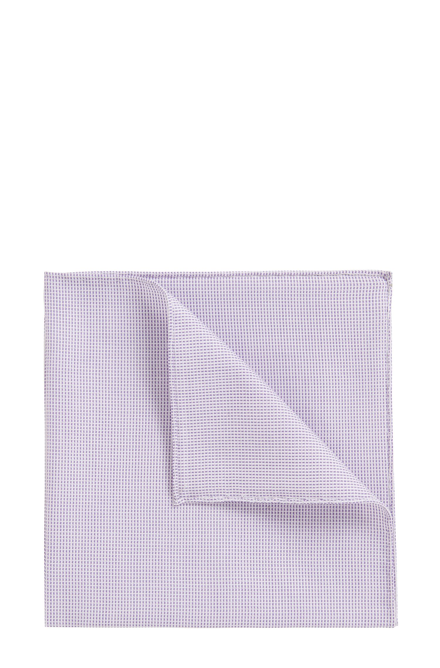 Rolled-hem pocket square in cotton-blend jacquard