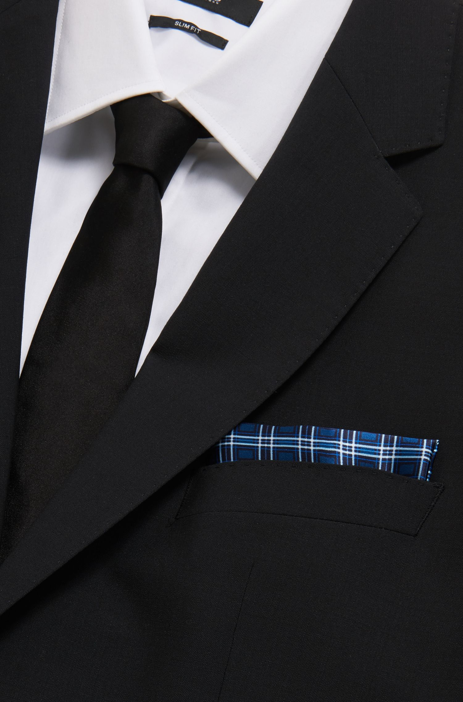 Italian-made silk pocket square with plain check pattern, Open Blue