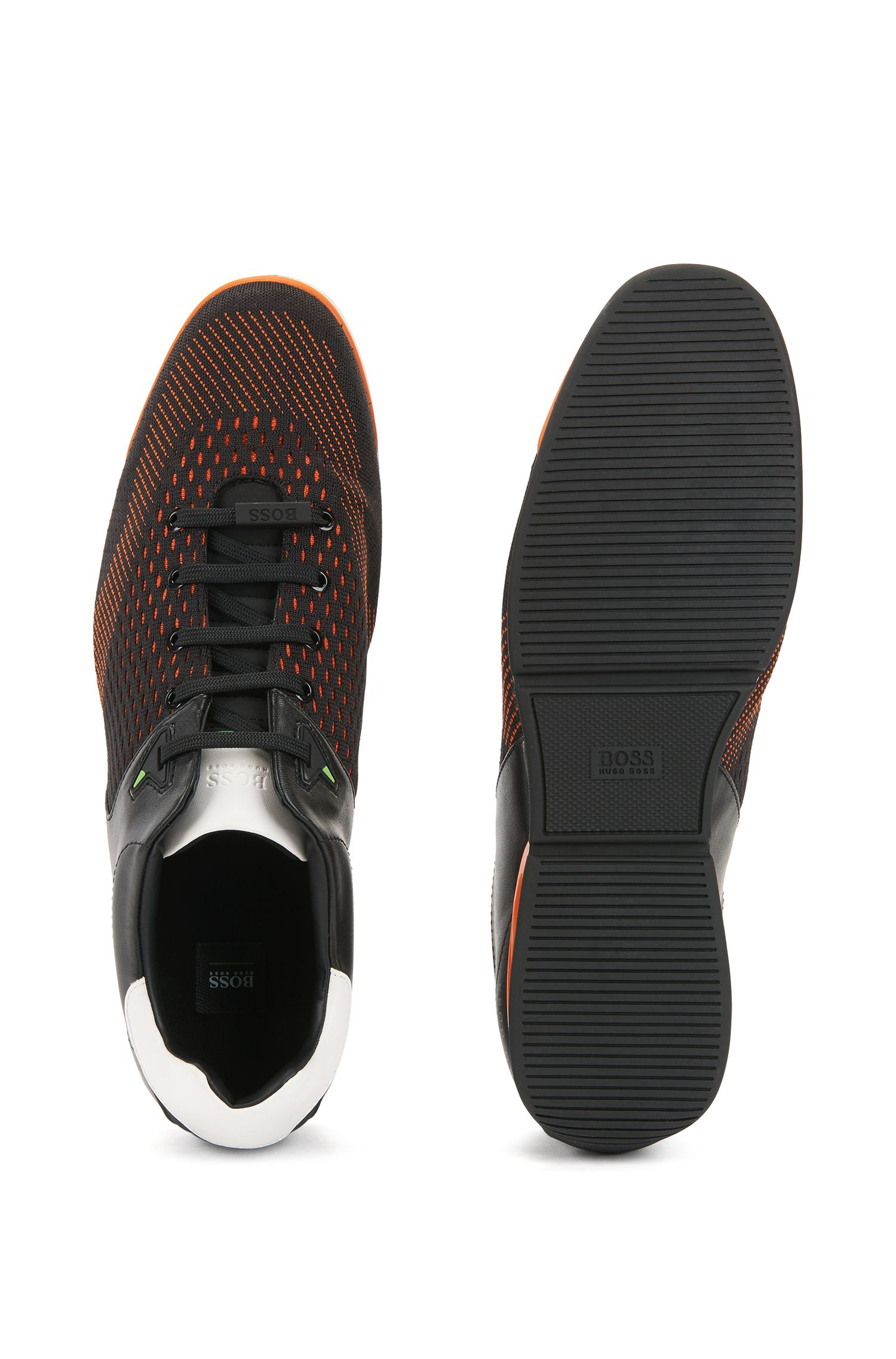 Low-profile sneakers with jacquard-knit uppers, Open Orange