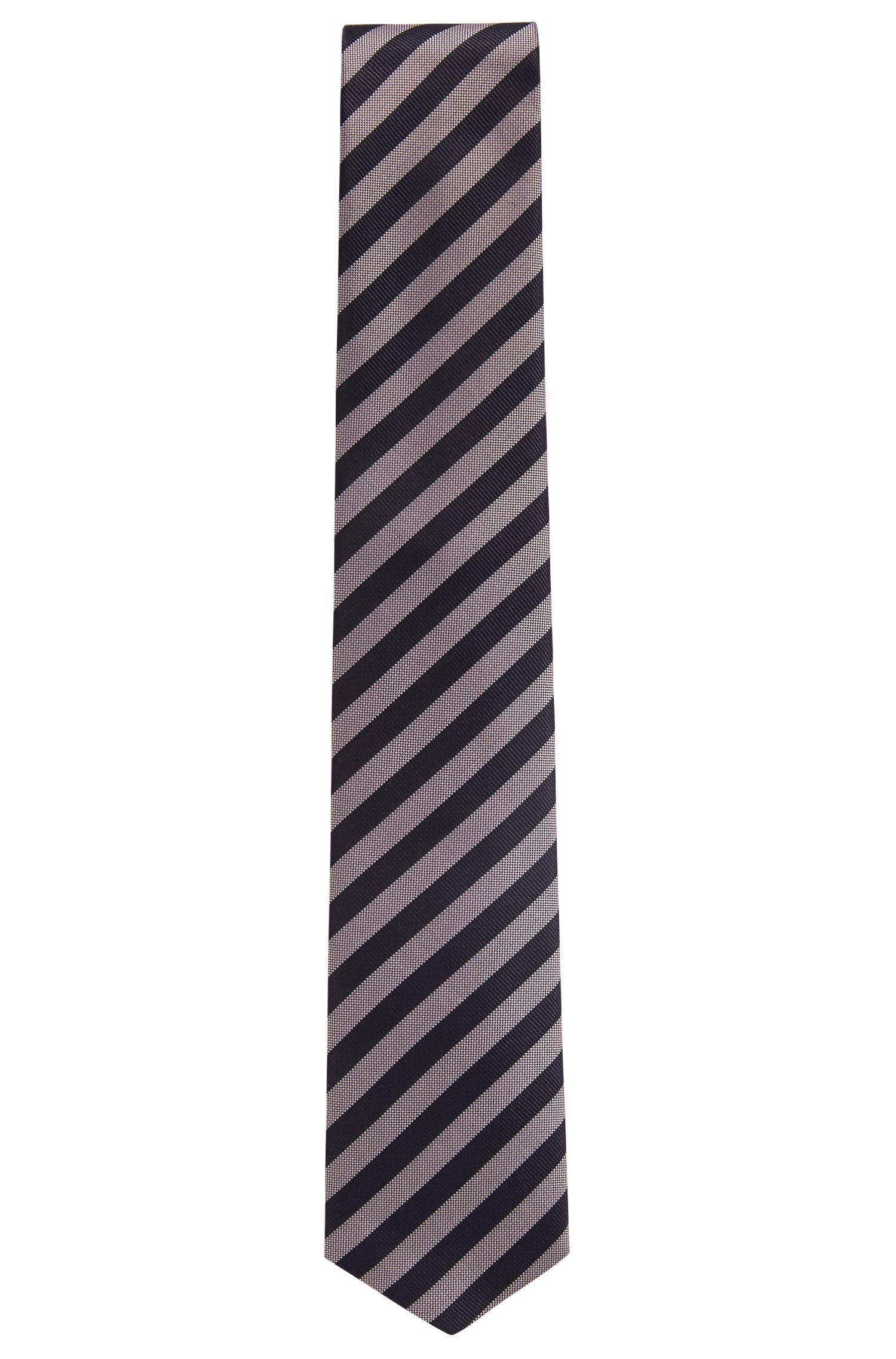 Water-repellent tie in silk jacquard with block stripes, light pink