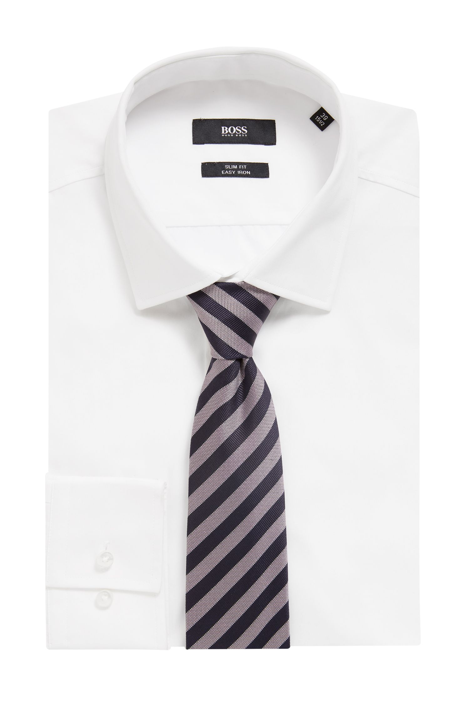 Water-repellent tie in silk jacquard with block stripes