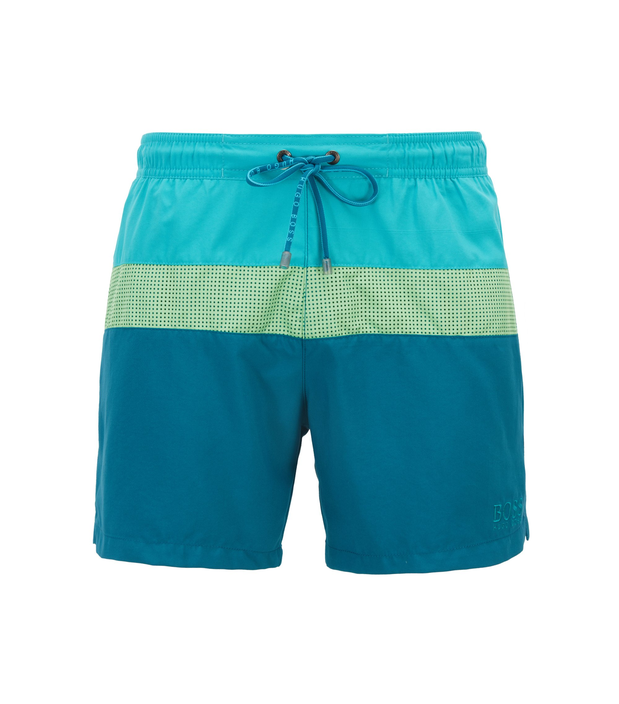 Colorblock swim shorts with laser-cut insert, Open Green