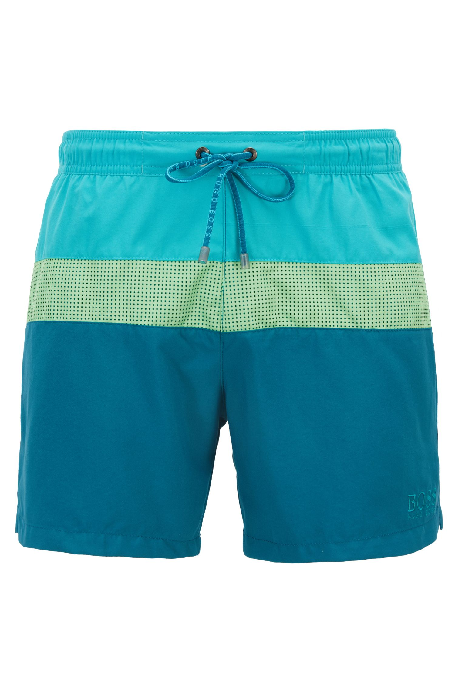 Colorblock swim shorts with laser-cut insert