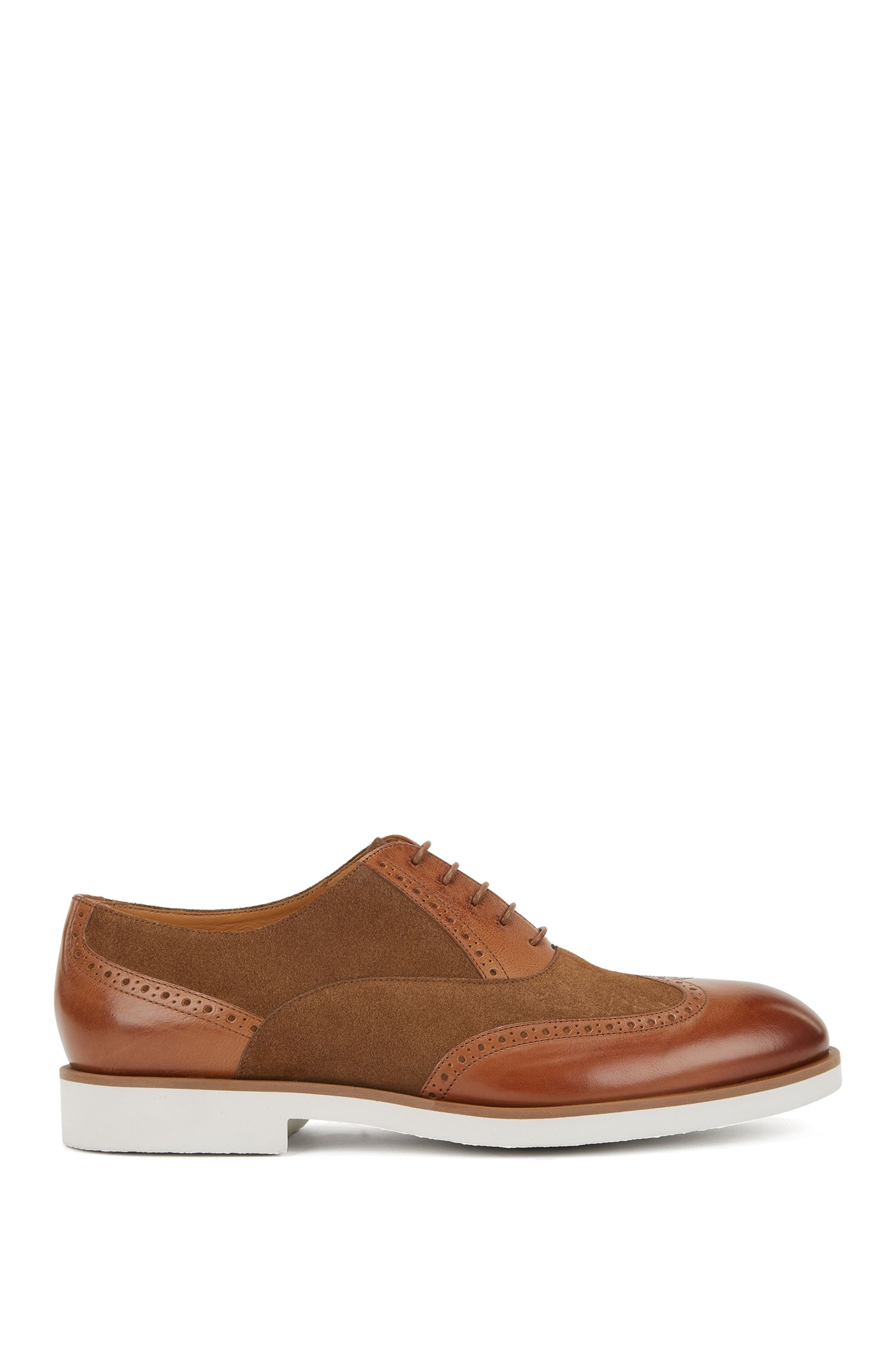 Italian-made brogue Derby shoes in leather and suede, Brown