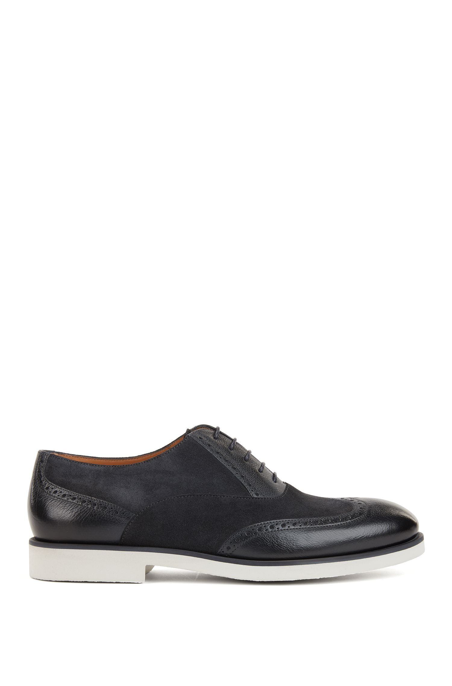 Italian-made brogue Derby shoes in leather and suede, Dark Blue