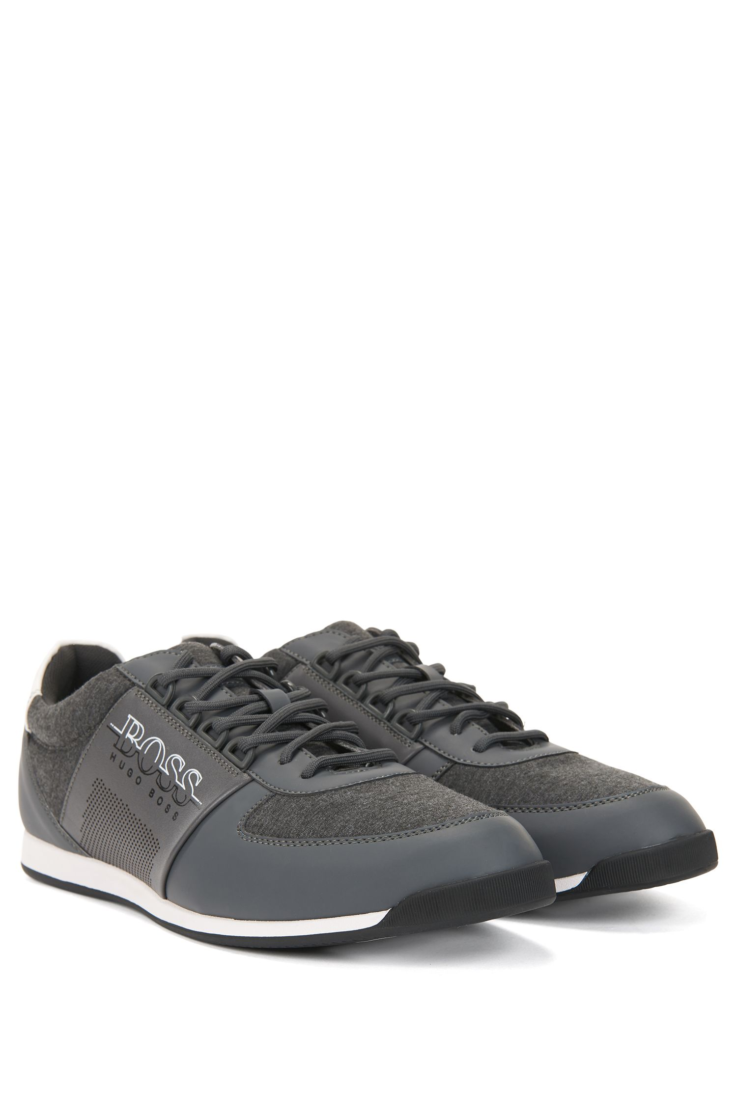 Low-profile sneakers in neoprene and technical fabric, Grey