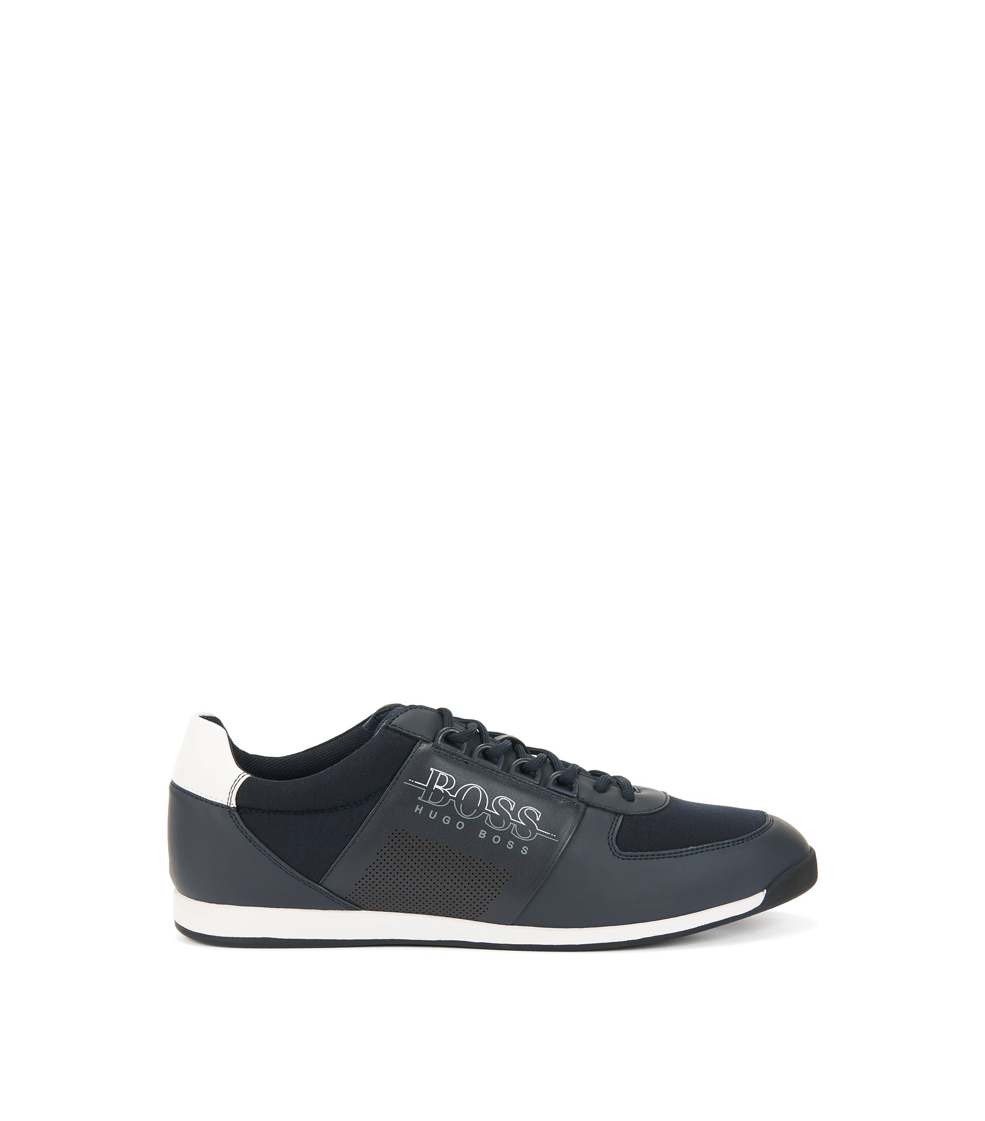 Low-profile sneakers in neoprene and technical fabric, Dark Blue