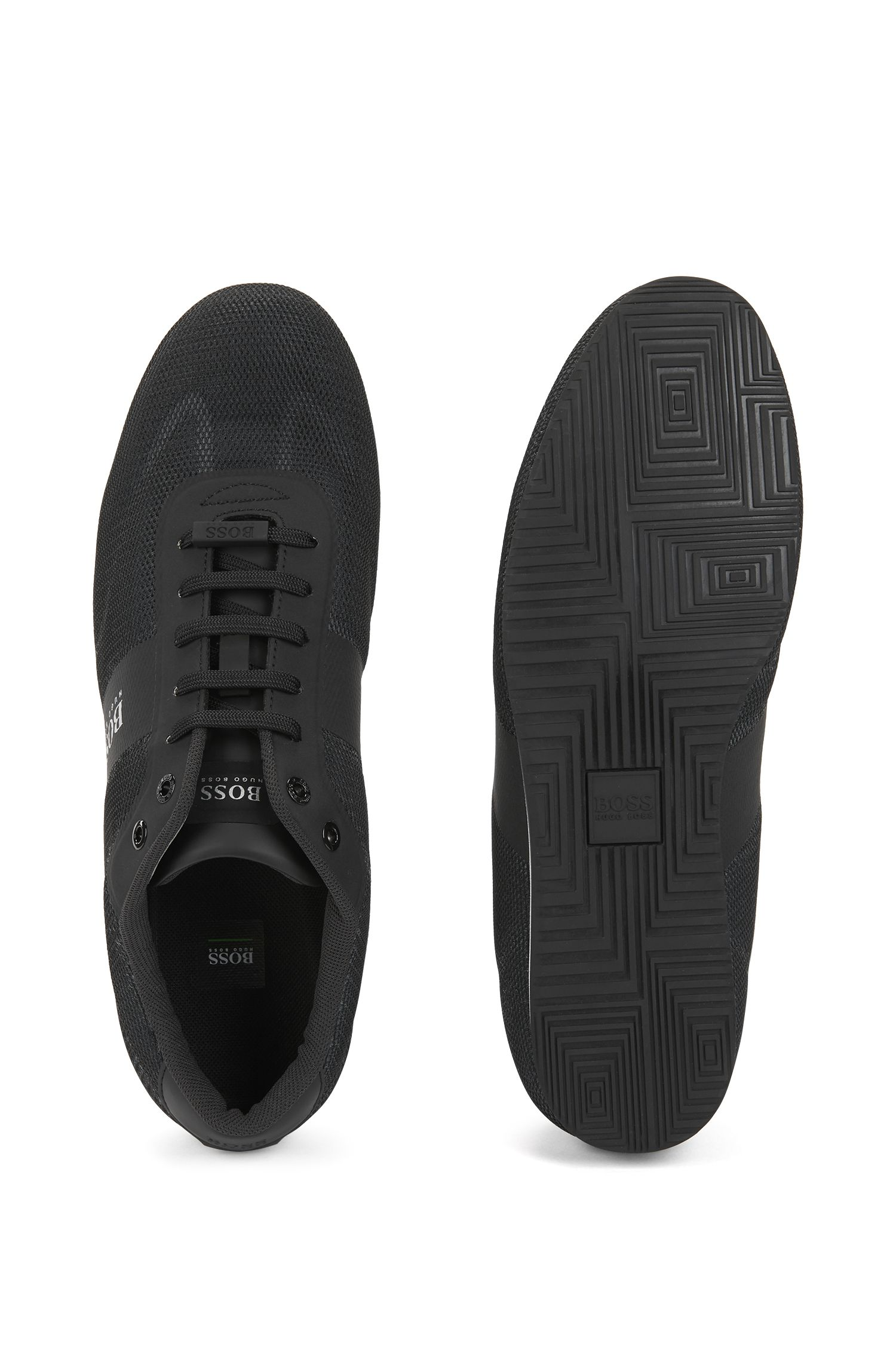 Low-top sneakers with one-piece mesh uppers, Black