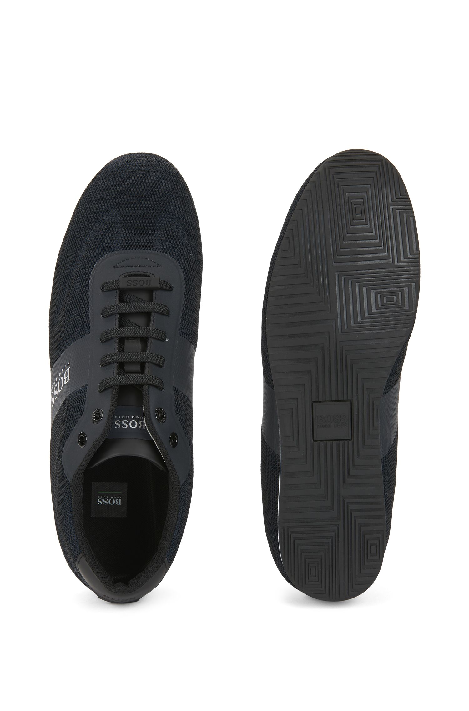 Low-top sneakers with one-piece mesh uppers