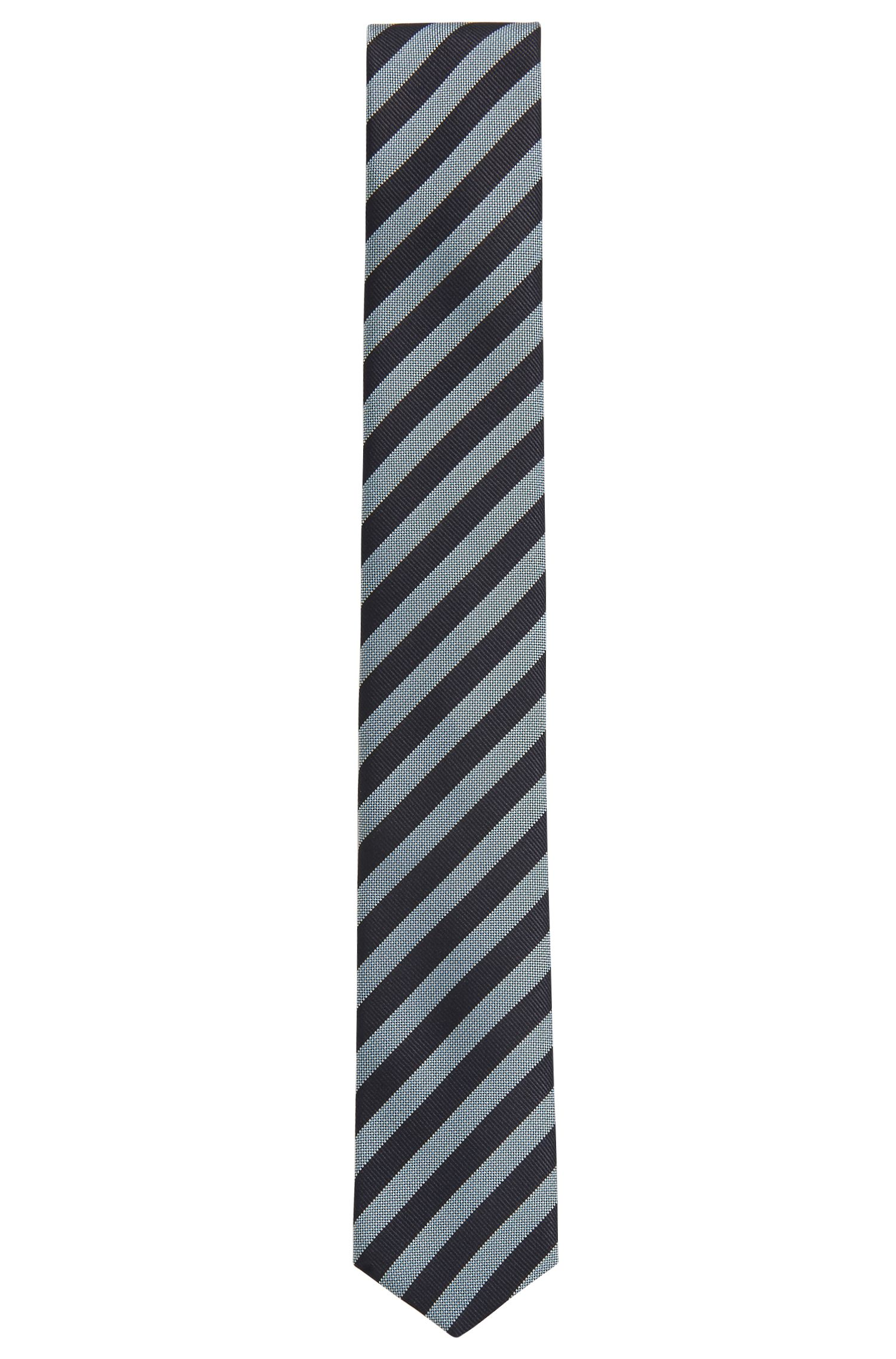 Italian-made tie in water-repellent striped silk, Light Blue