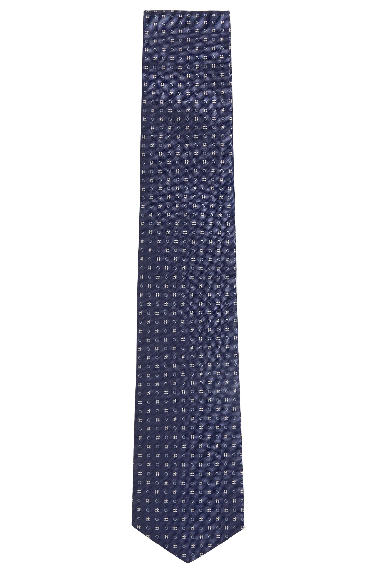 Italian-made patterned tie in water-repellent silk, Open Blue