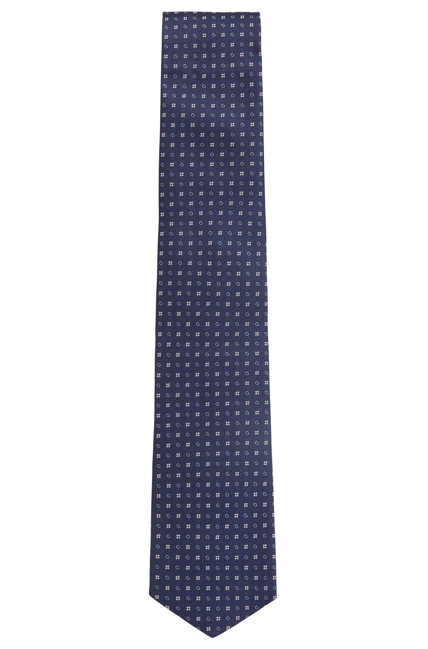 Italian-made patterned tie in water-repellent silk BOSS