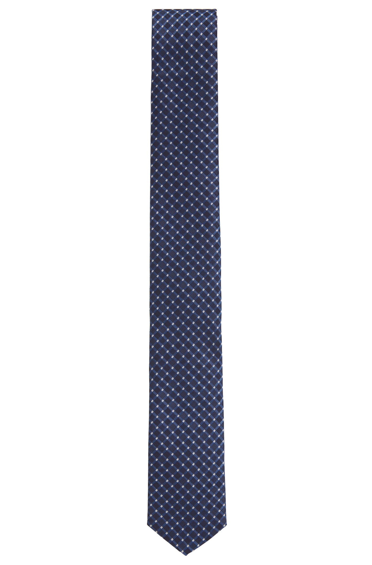 Slimline patterned tie in water-repellent silk jacquard