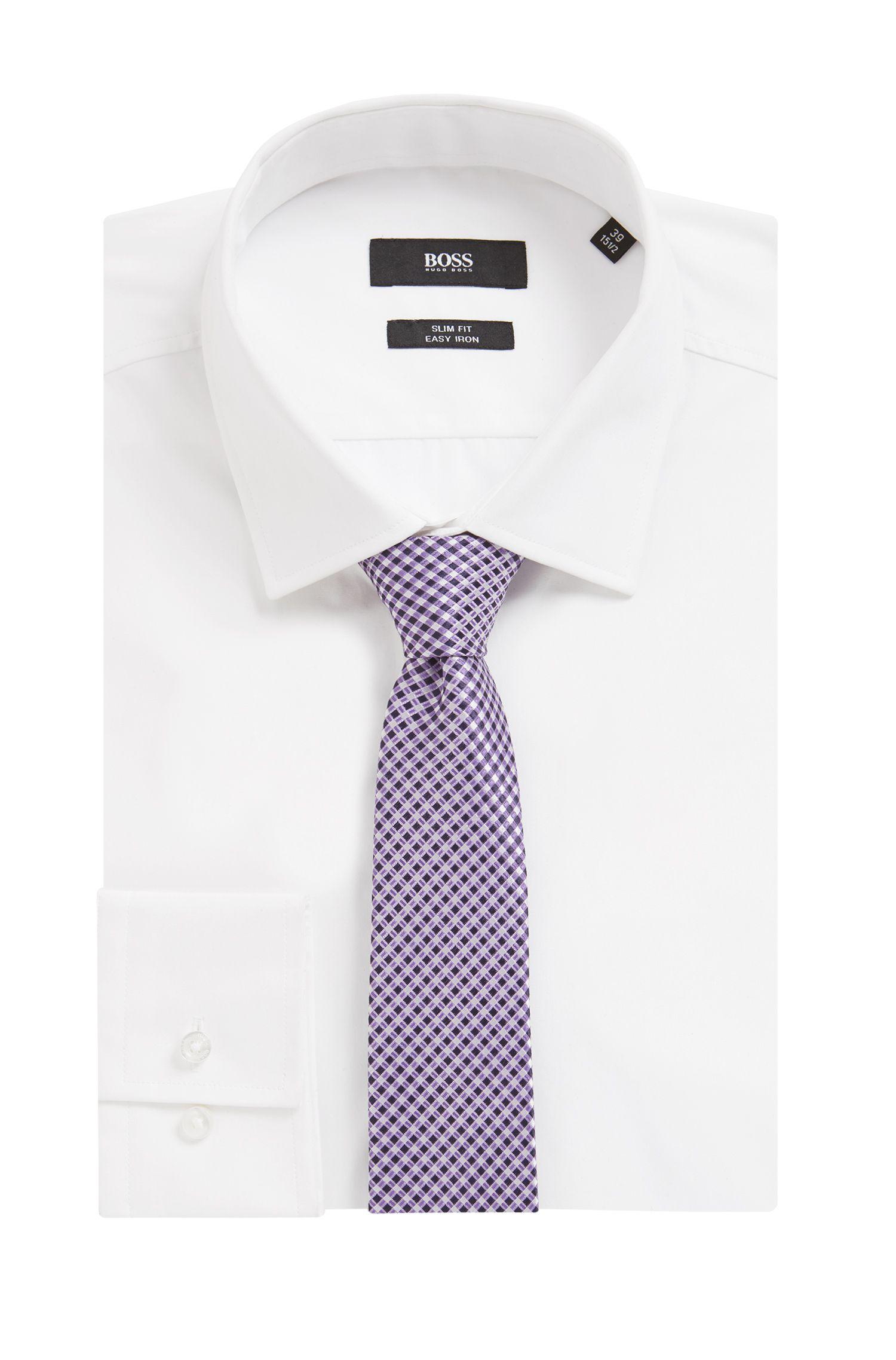 Slimline patterned tie in water-repellent silk jacquard, Purple