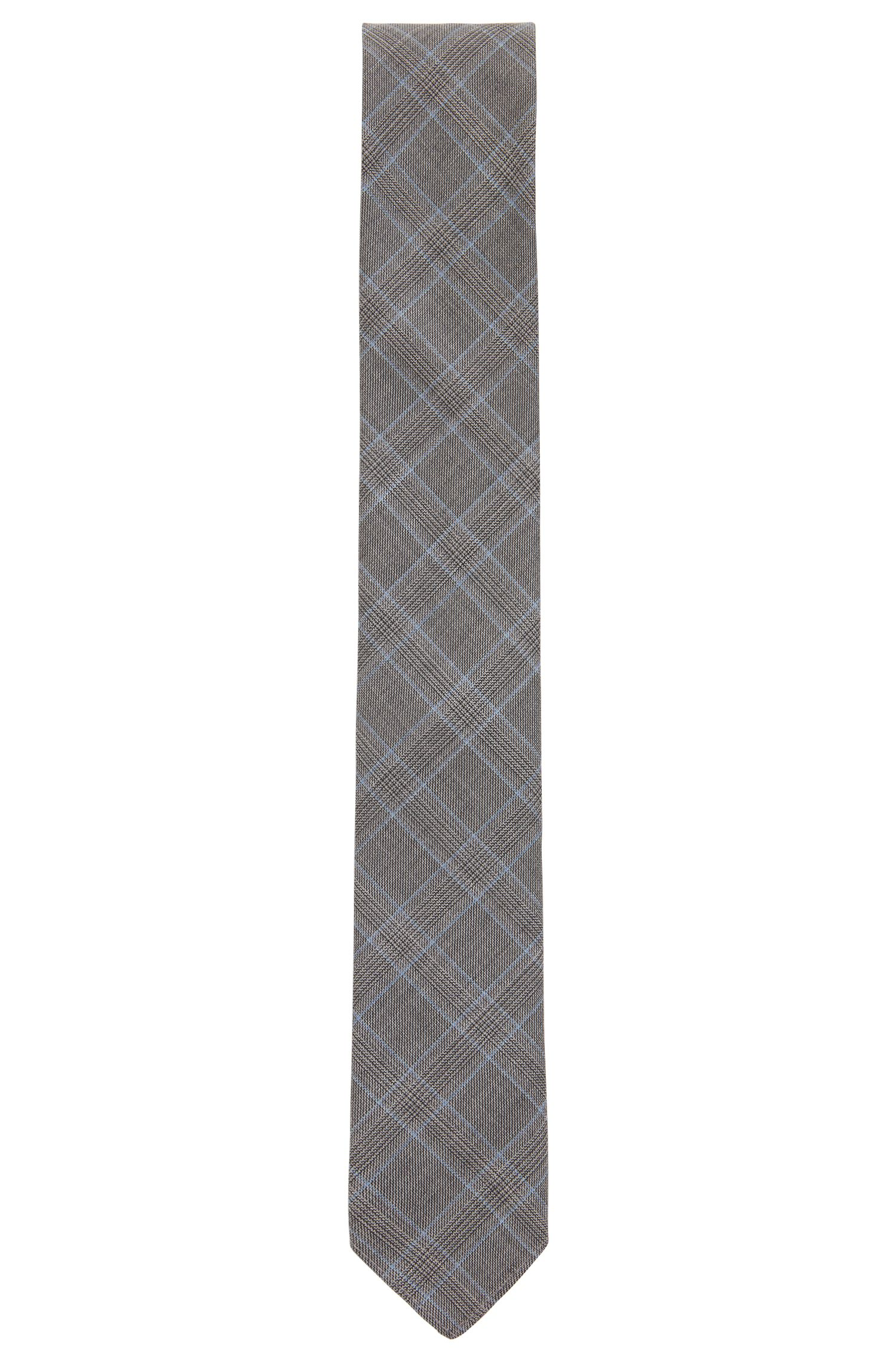 Italian-made Glen-check tie in virgin-wool jacquard, Open Grey