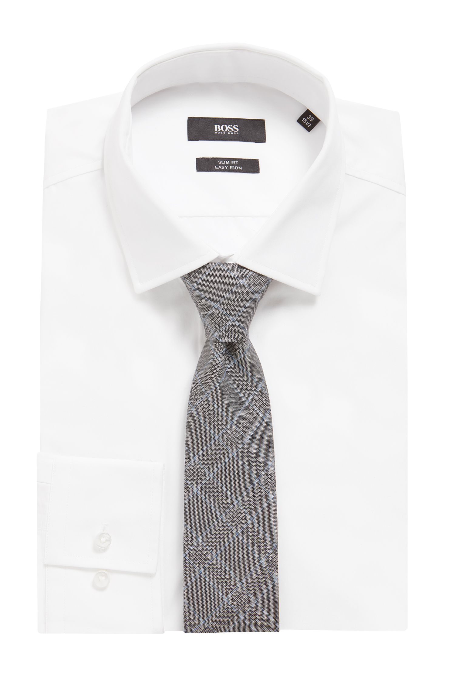 Italian-made Glen-check tie in virgin-wool jacquard, Open Grey