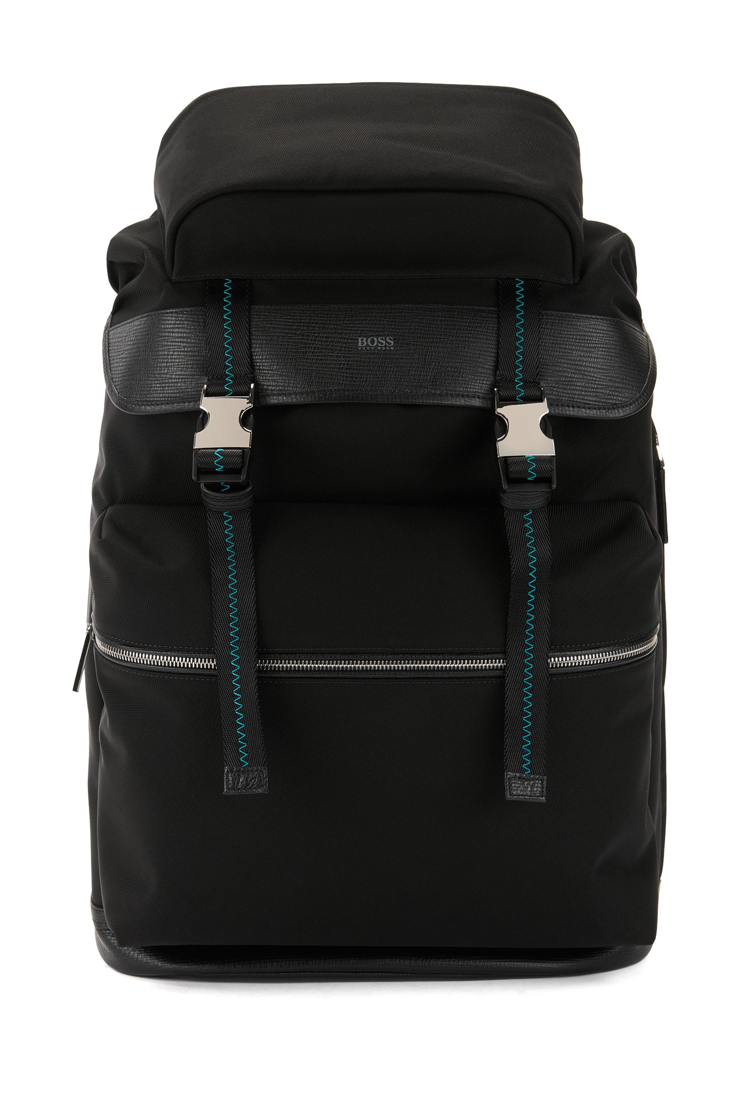 Backpack with buckle closure and Italian-leather trims