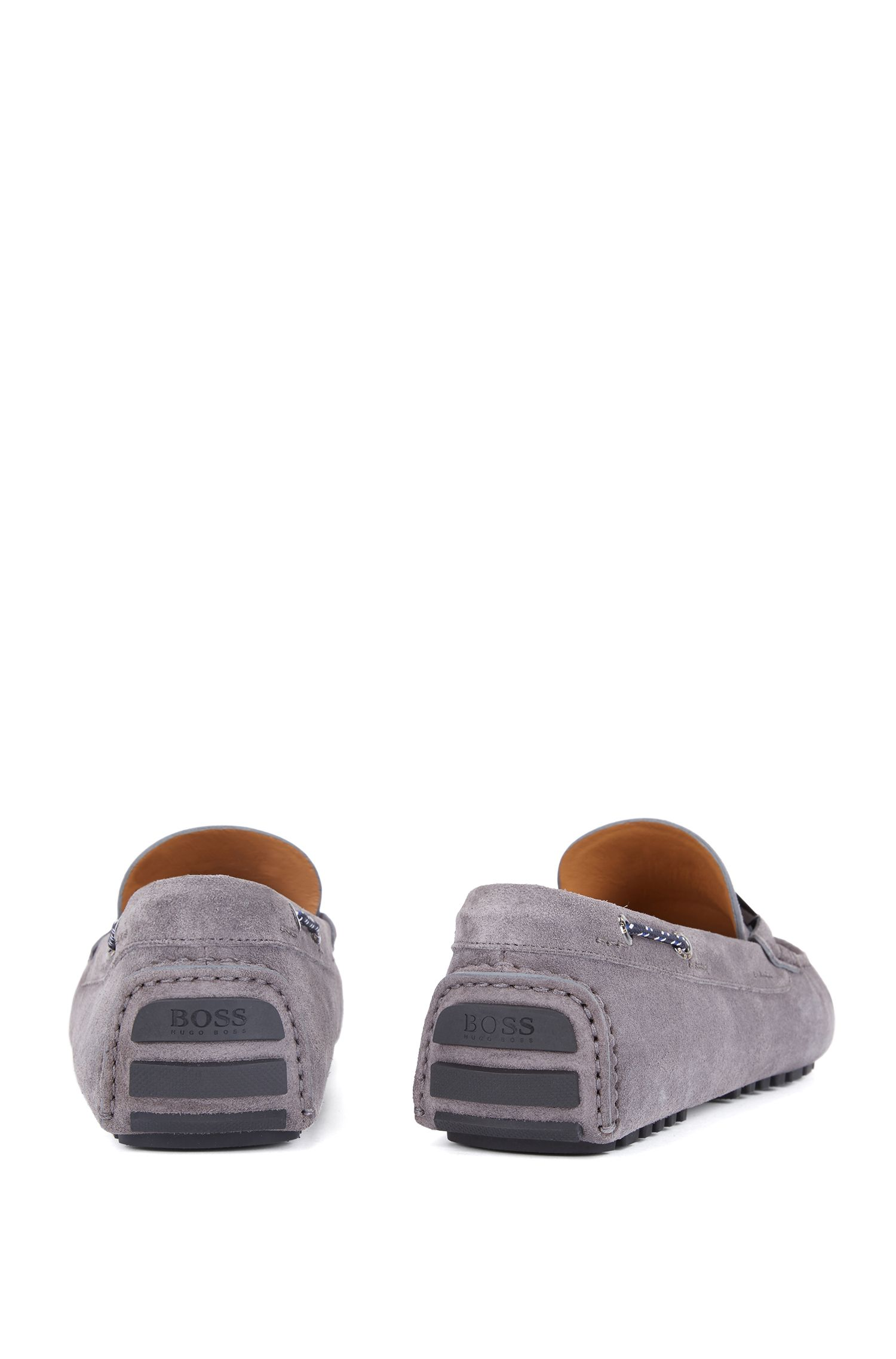 Italian-made suede moccasins with woven cord, Grey