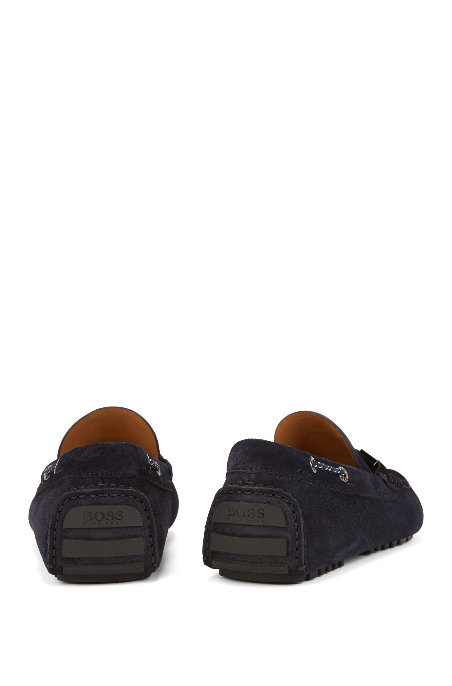 Italian-made suede moccasins with woven cord, Dark Blue