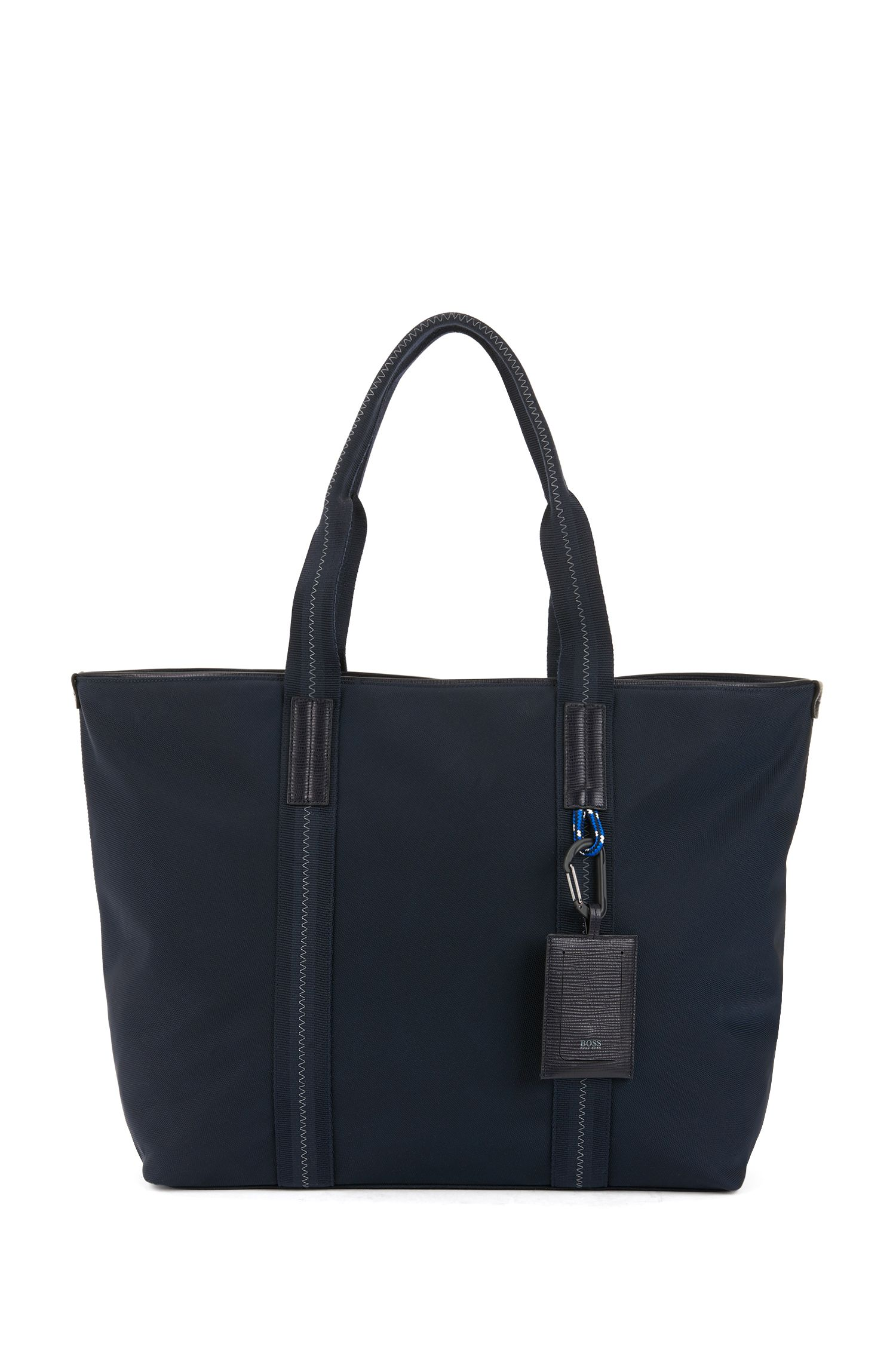 Structured tote bag with Italian calf-leather trims, Dark Blue