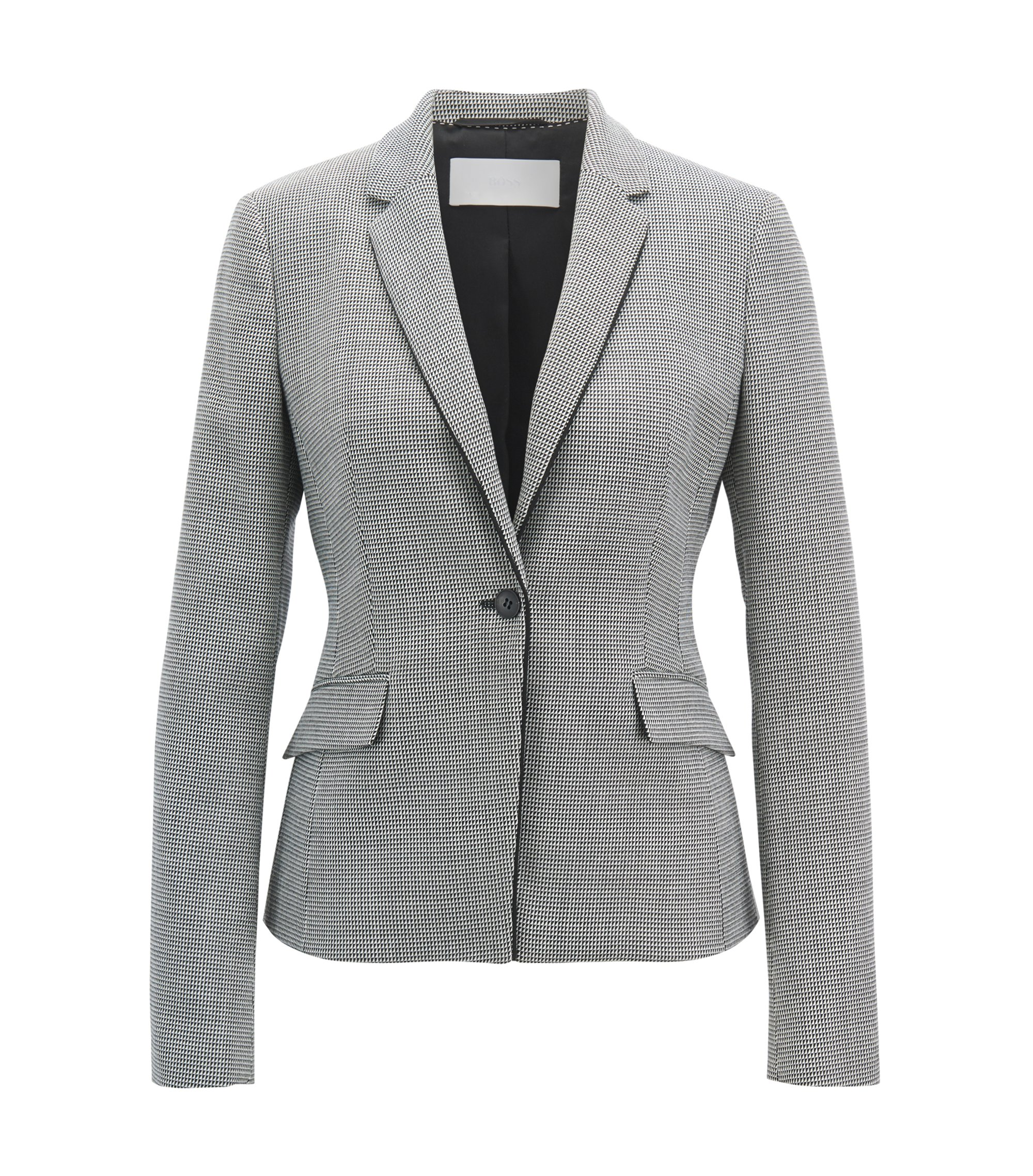 Regular-fit blazer in pepita-patterned virgin wool blend, Patterned